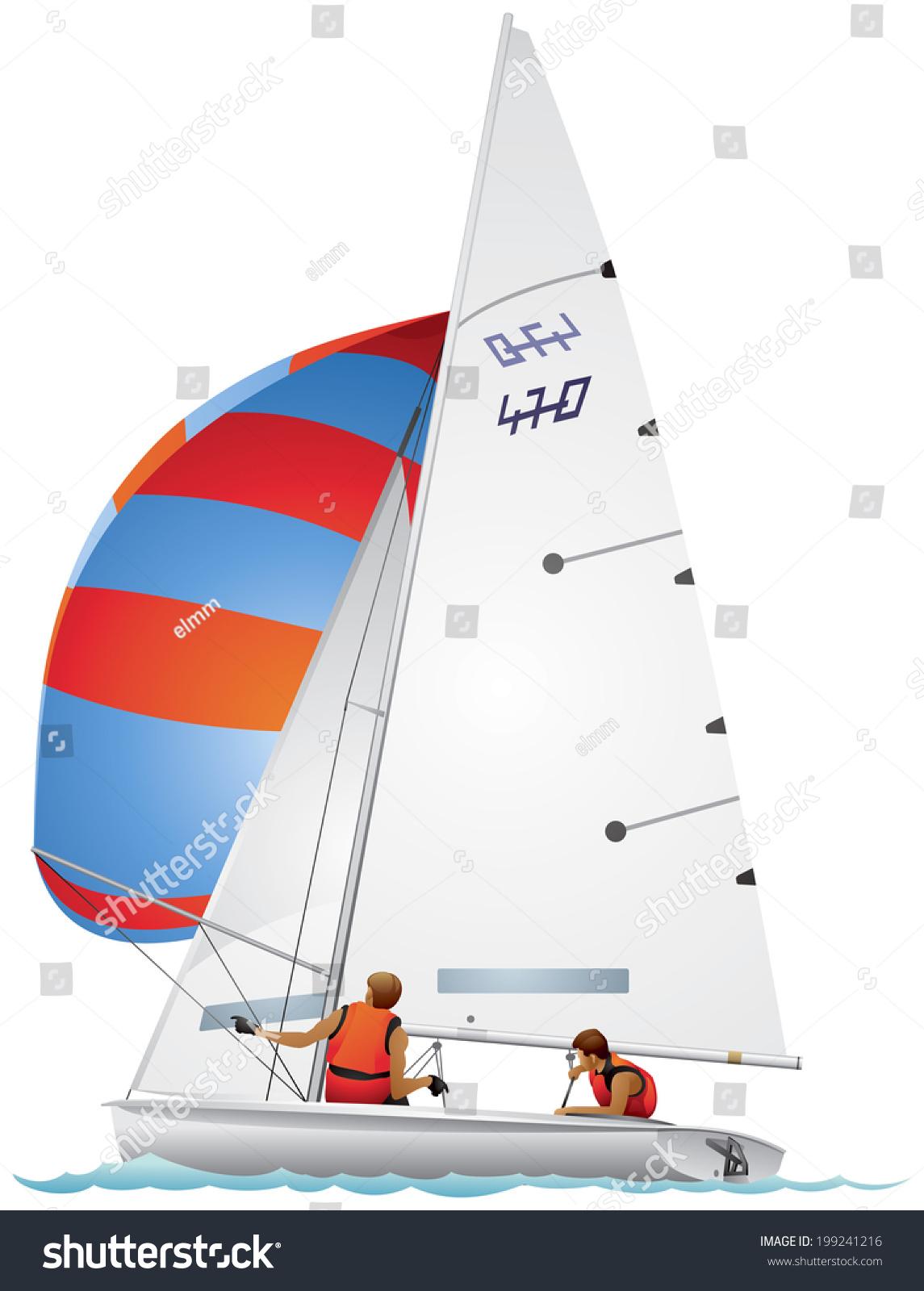 Yacht 470 Class Dinghy Profile Realistic Vector Stock Vector