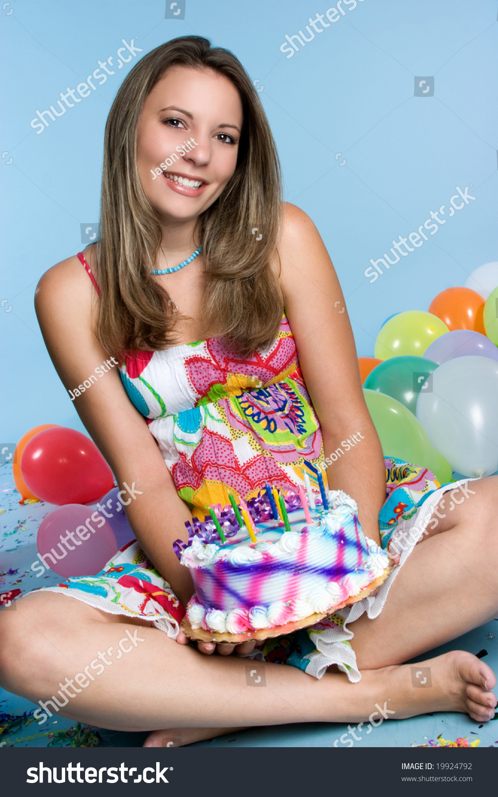 Pretty Girl Holding Birthday Cake Stock Photo 19924792
