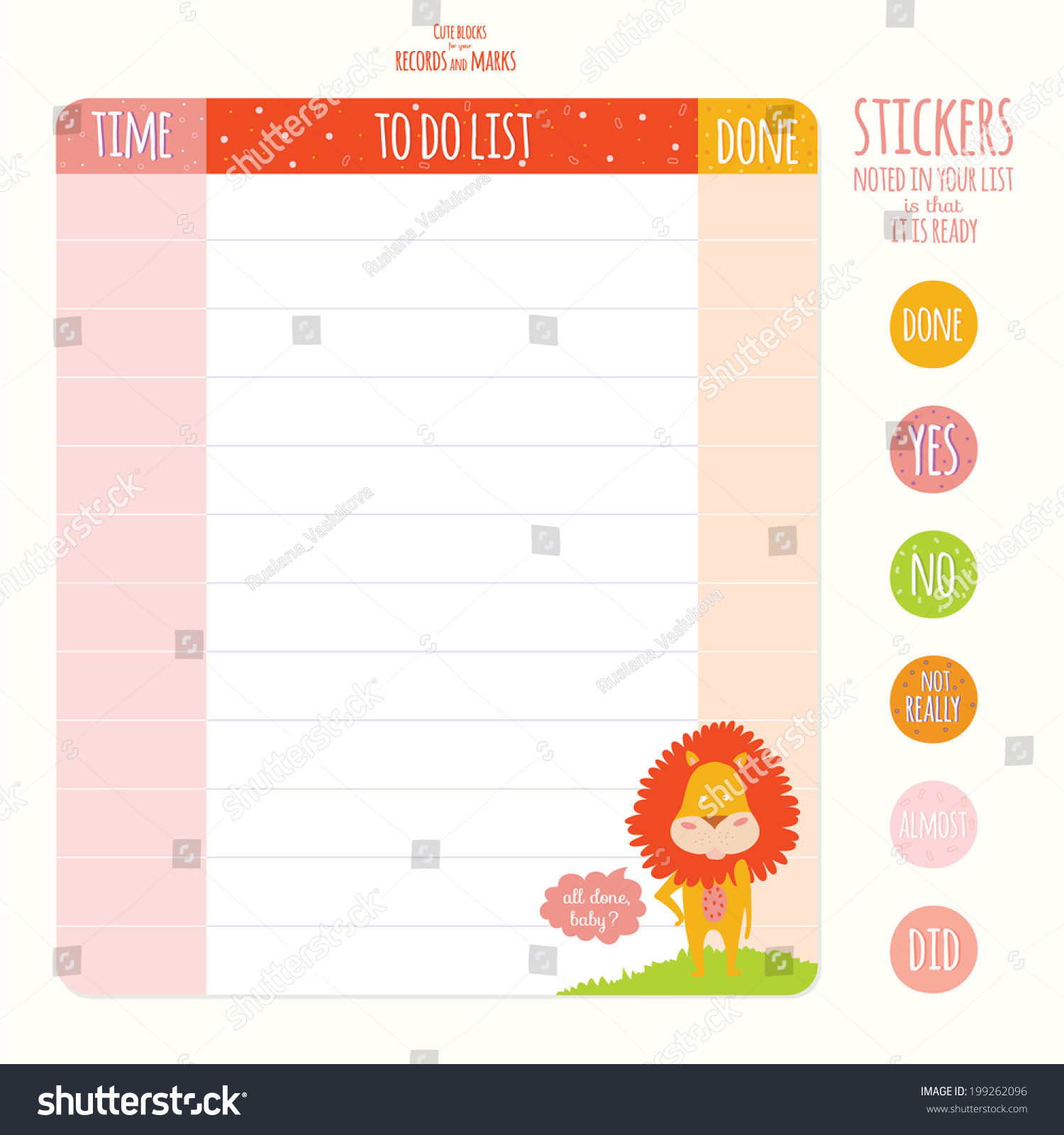 Vector Design Elements Notebook Diary Stickers Stock Vector (Royalty
