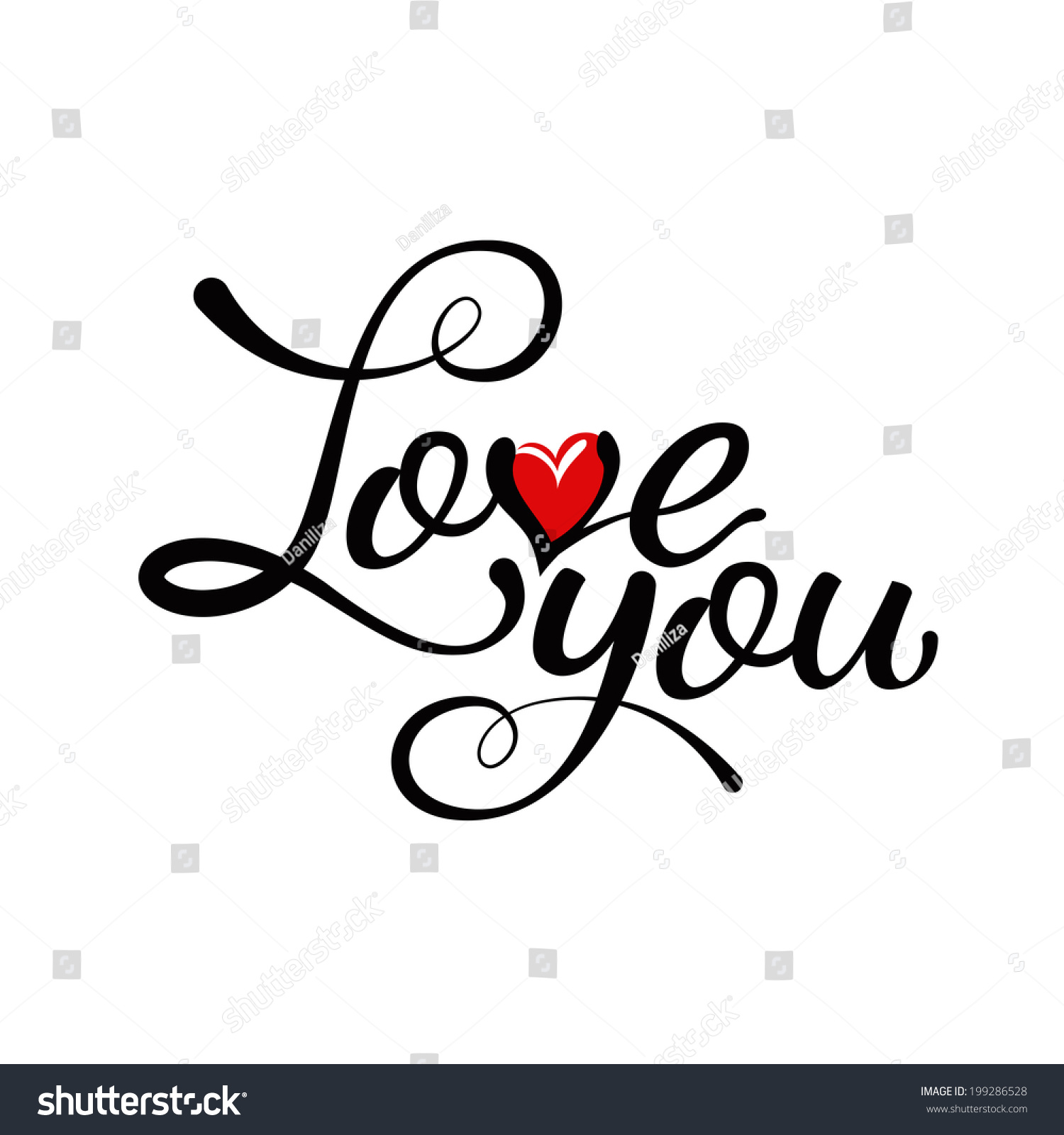 Love You Hand Lettering Handmade Calligraphy Stock Vector
