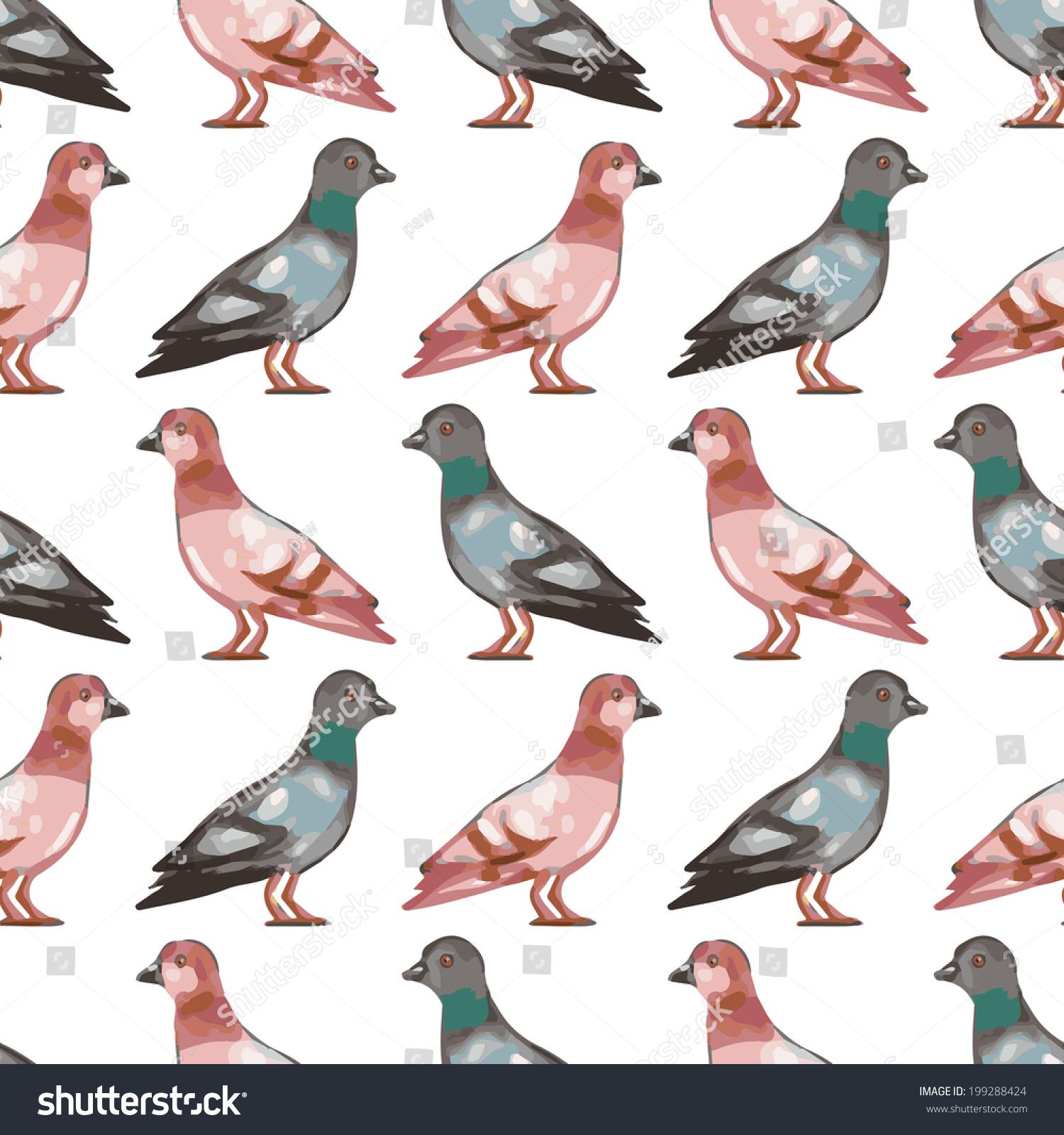 seamless pattern birds cute pigeons vector stock photo (photo