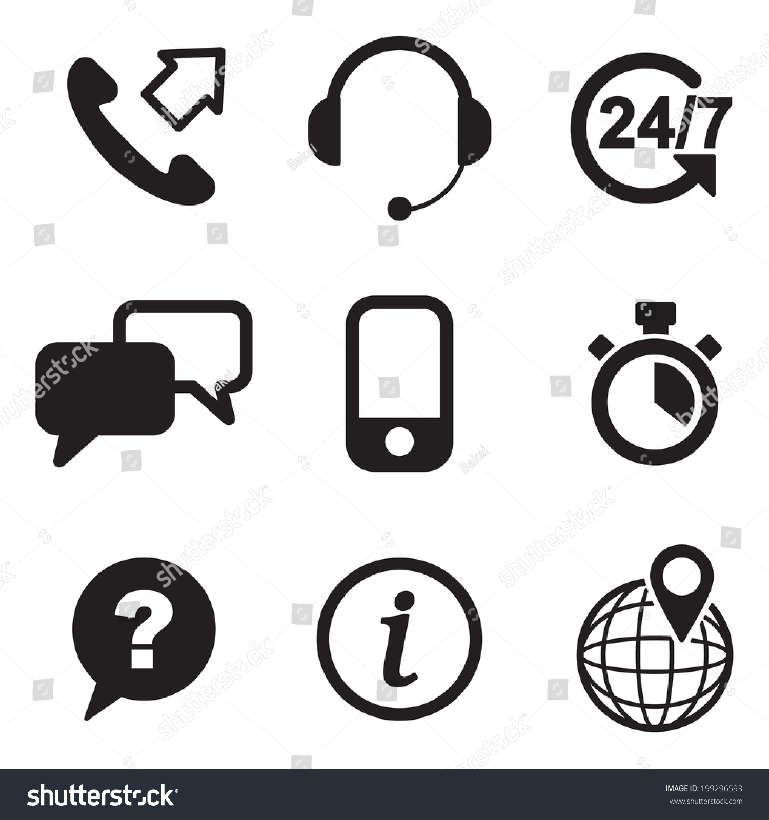 Customer Service Icons Stock Vector 199296593 - Shutterstock