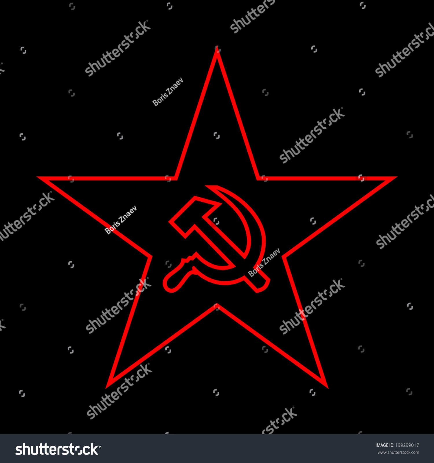 Minimal red star socialist symbols made stock illustration the minimal red star with socialist symbols made of thin lines on black background biocorpaavc Choice Image