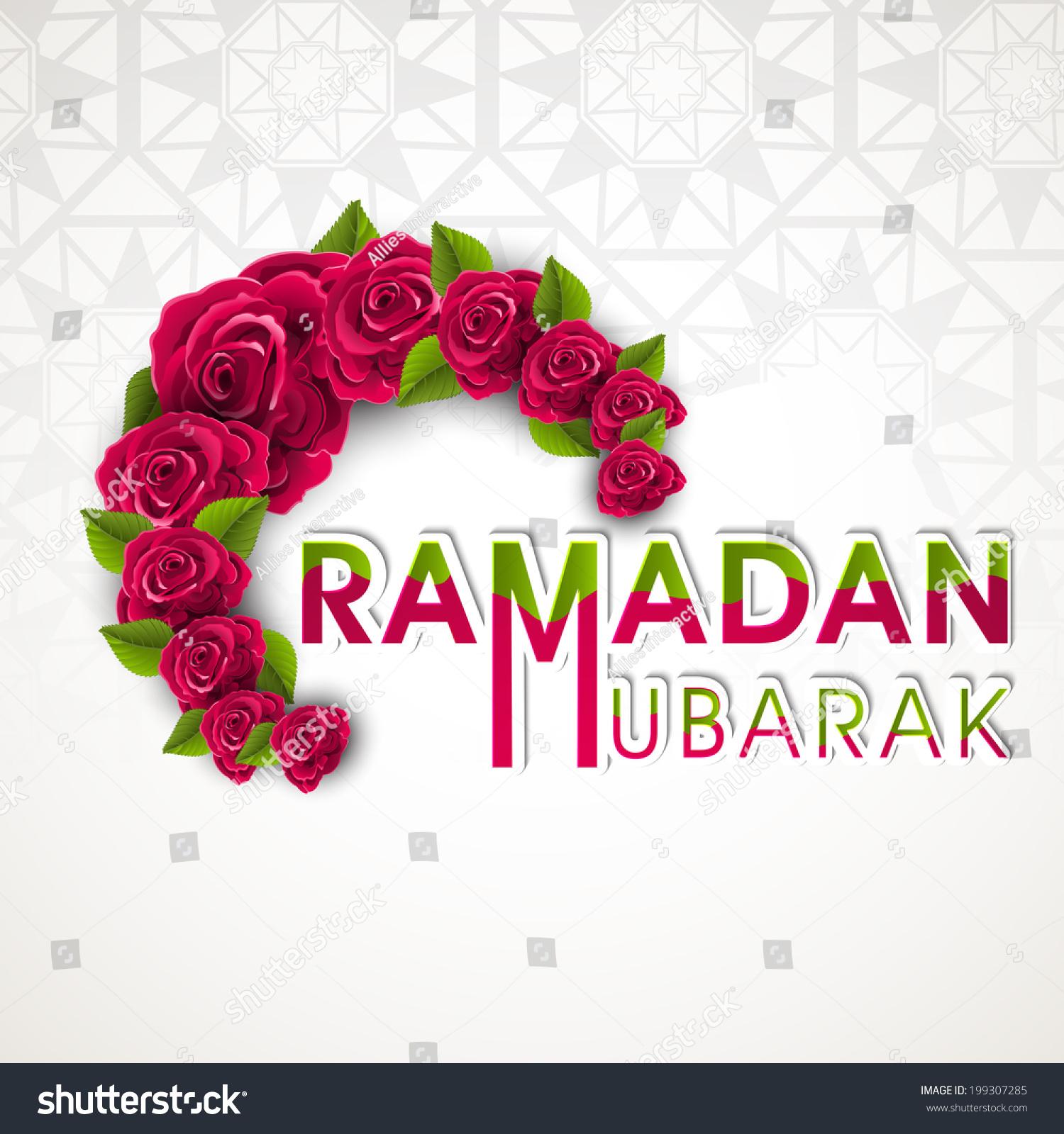 Beautiful Red Roses Stylish Text Ramadan Stock Vector Royalty