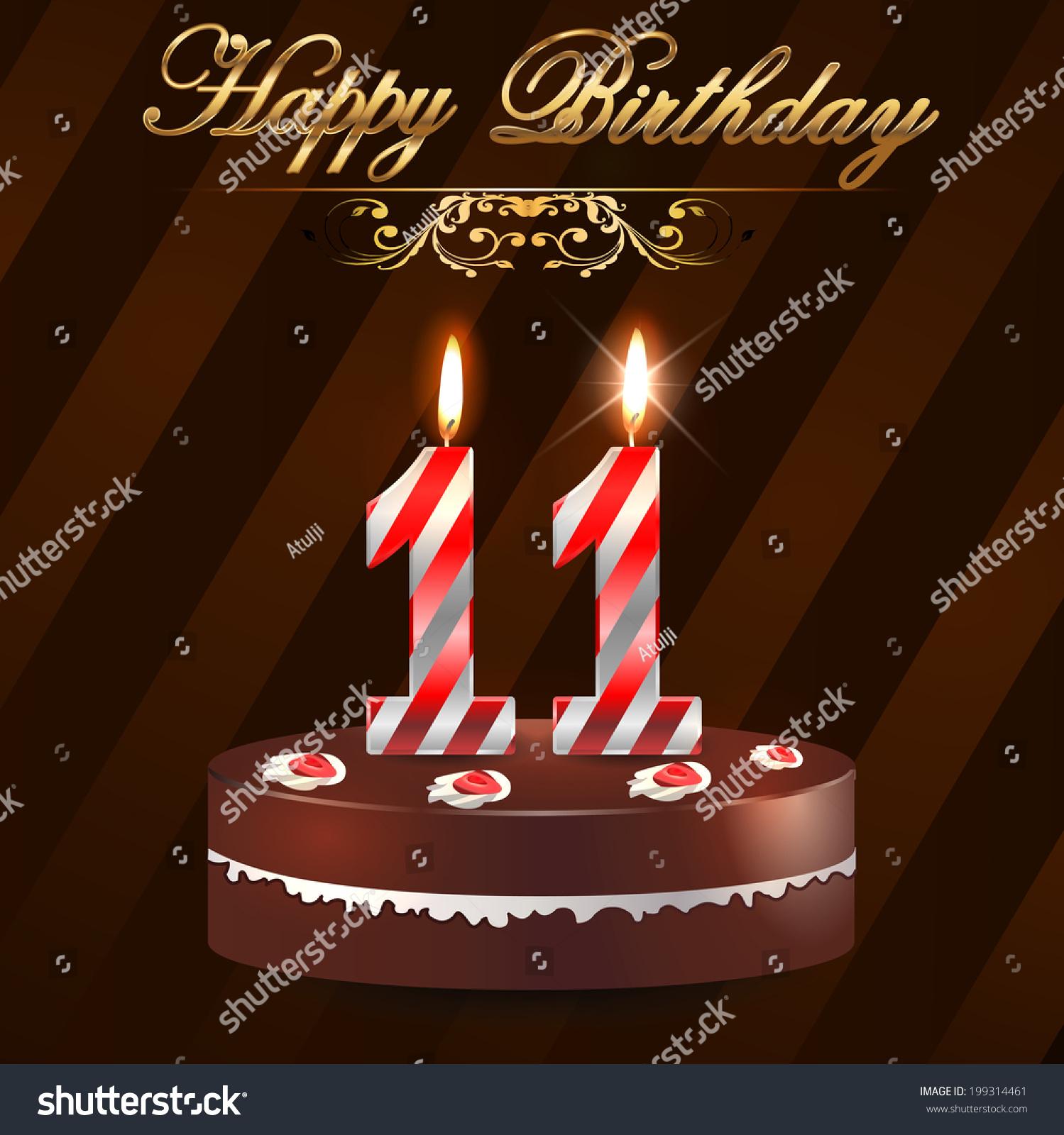 11 Year Happy Birthday Card Cake Stock Vector Royalty Free