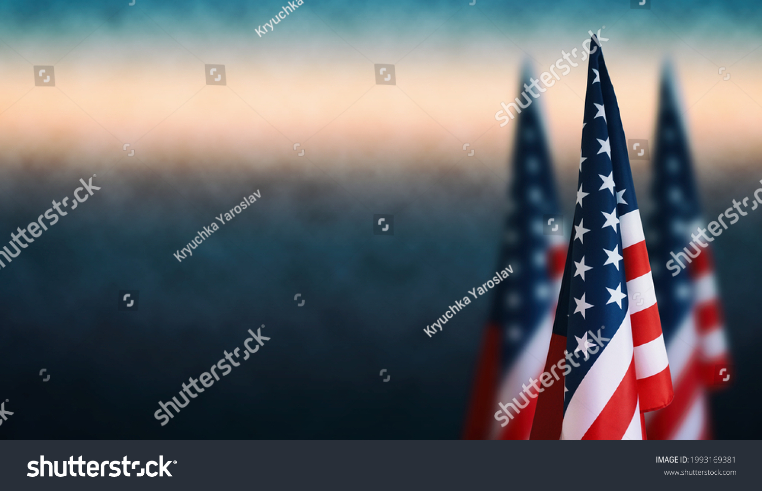Happy Veterans Day background, American flags against a blue fog background, November 11, American flag Memorial Day, 4th of July, Labour Day, Independence Day. #1993169381