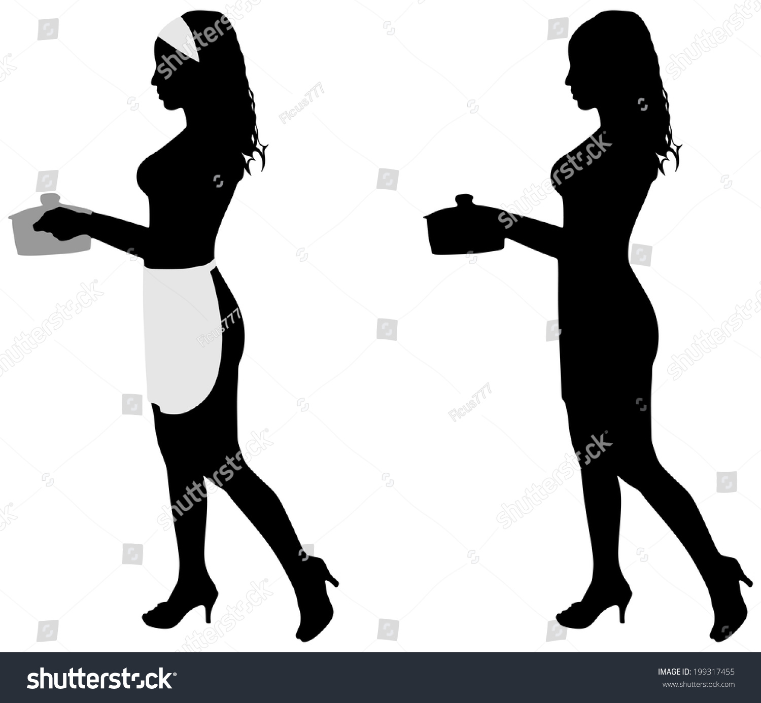 Silhouette Beautiful Girl Cooking Vector Stock Vector ...