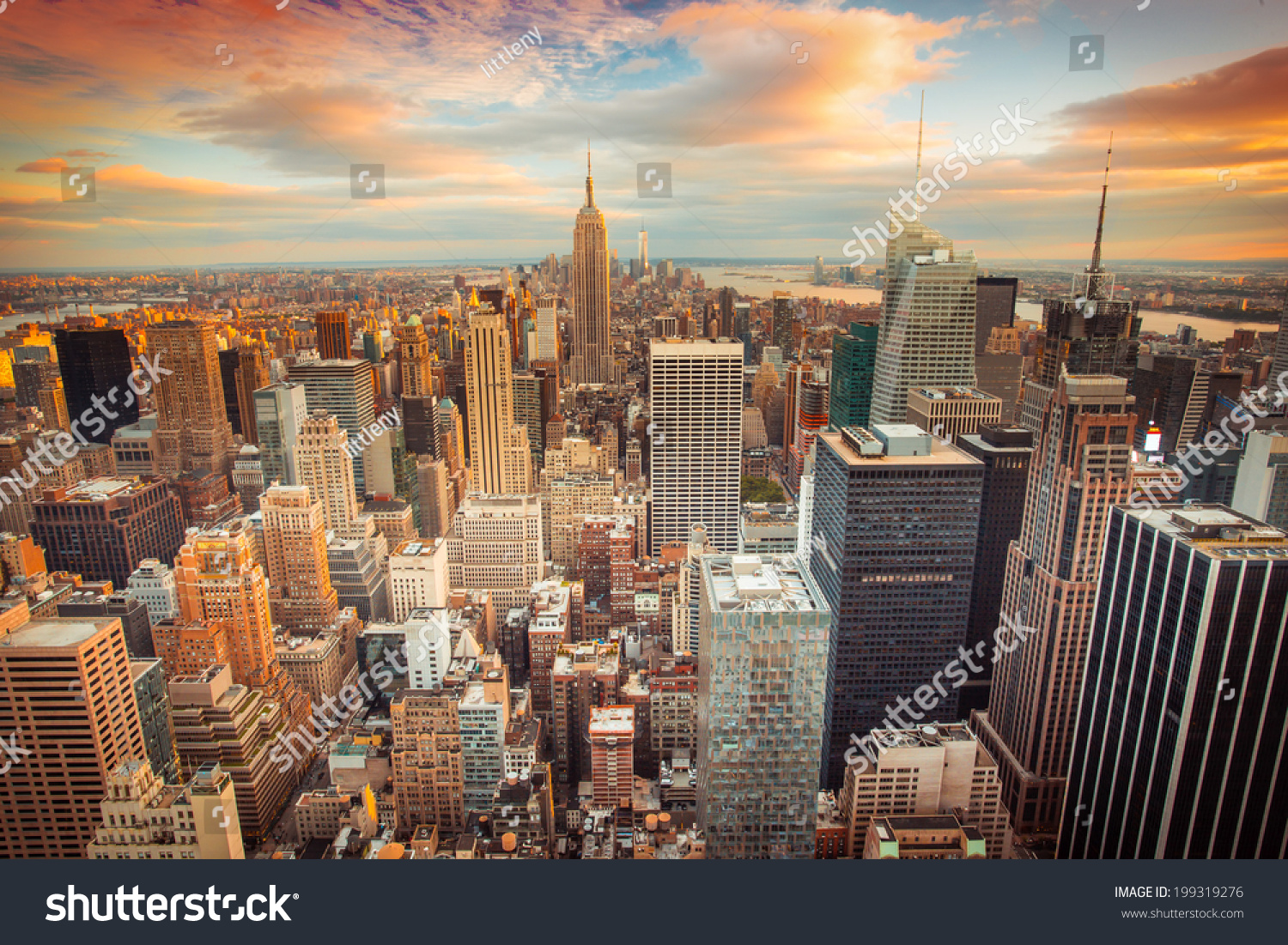 Sunset Aerial View New York City Stock Photo 199319276 ...