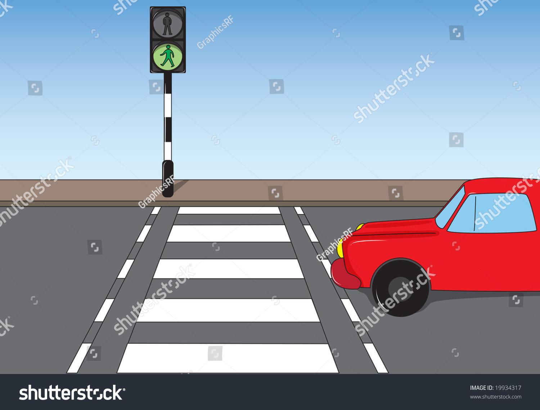 Illustration Car Stopped Pedestrian Crossing Stock Illustration