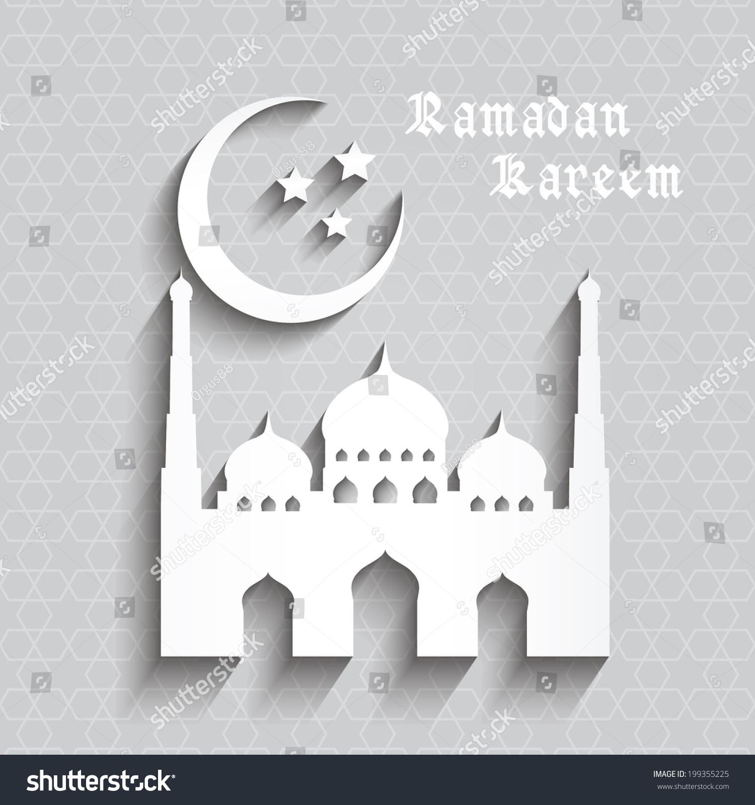 Ramazan kareem greeting card mosque crescent stock vector 199355225 ramazan kareem greeting card mosque and crescent moon with stars ramazan kareem on islamic pattern kristyandbryce Image collections