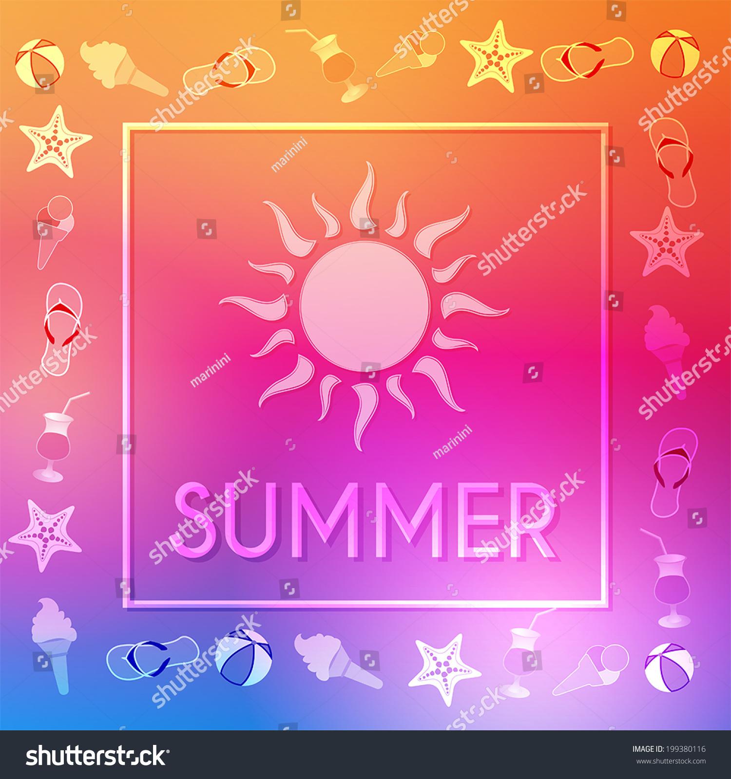 Text Summer Sun Summery Symbols Frame Stock Vector Royalty Free