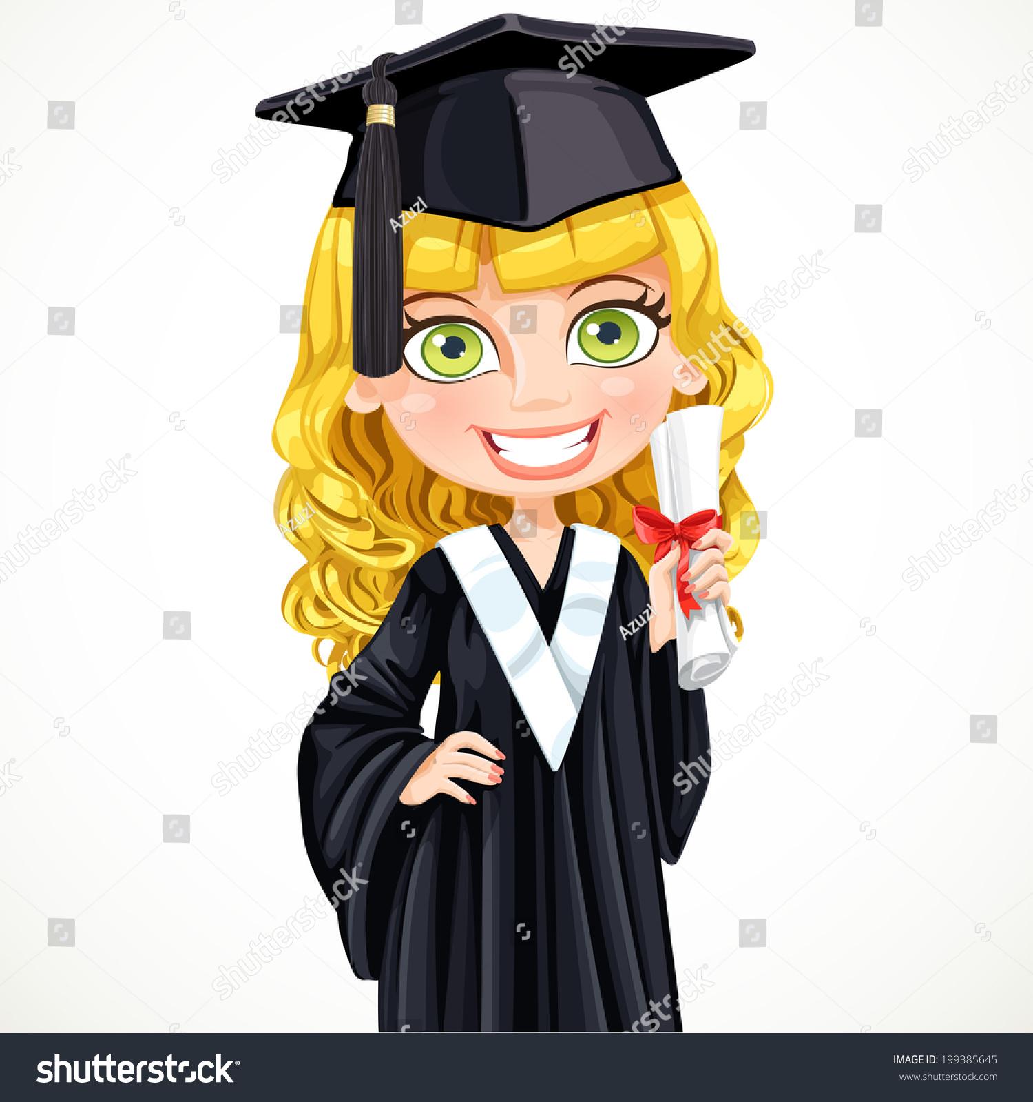 Happy girl in black graduation gown | EZ Canvas