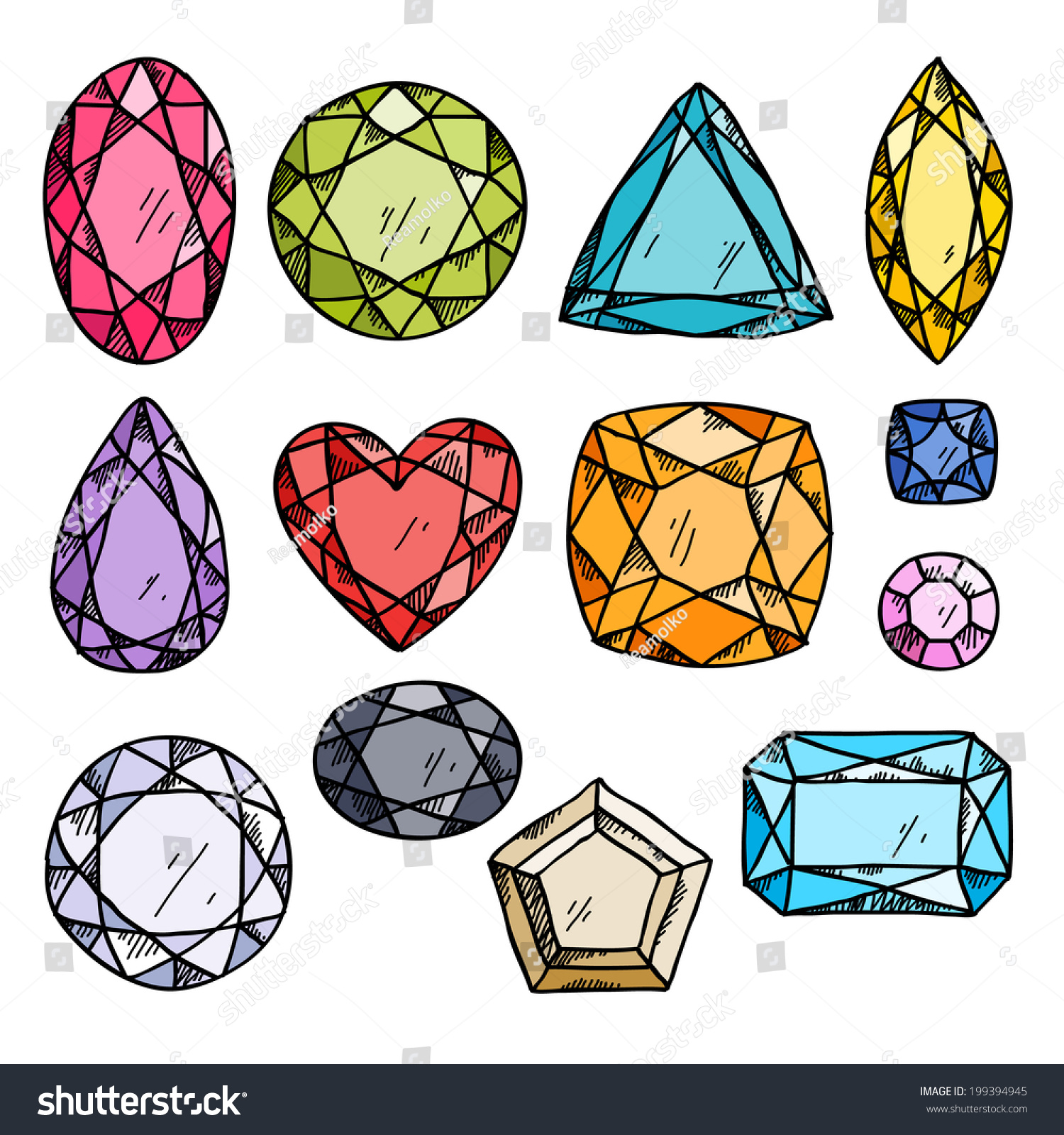 Set Colorful Jewels Hand Drawn Gemstones Stock Vector ...
