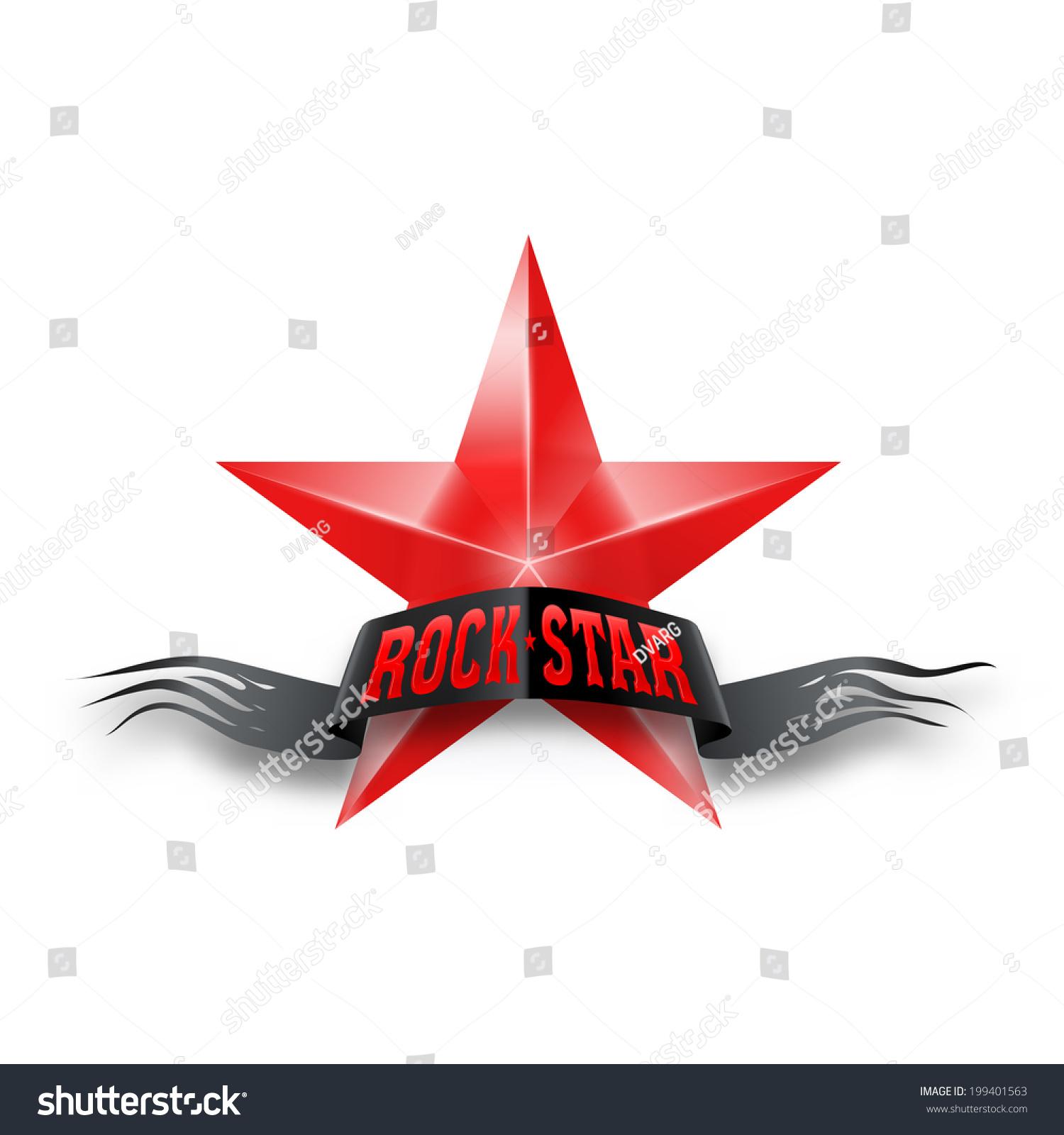 Red Star With Black Torn Rock Star Banner Illustration On White
