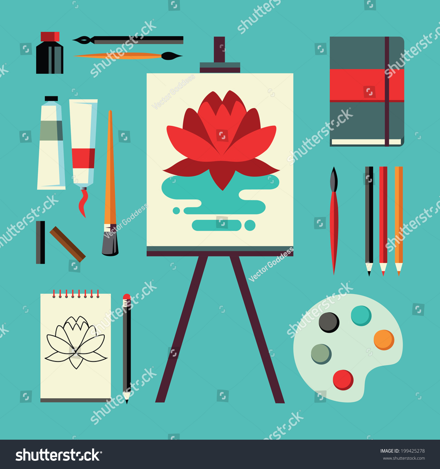 Colored Flat Design Vector Illustration Icons Set Of Art Supplies Instruments For Painting
