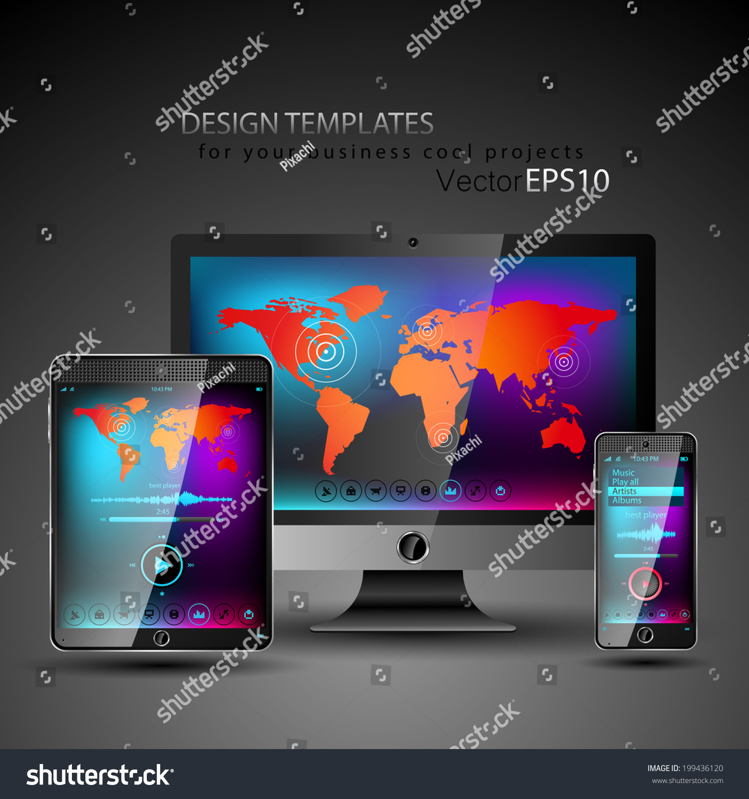 Modern Devices Design Templates Your Cool Stock Vector 199436120 ...