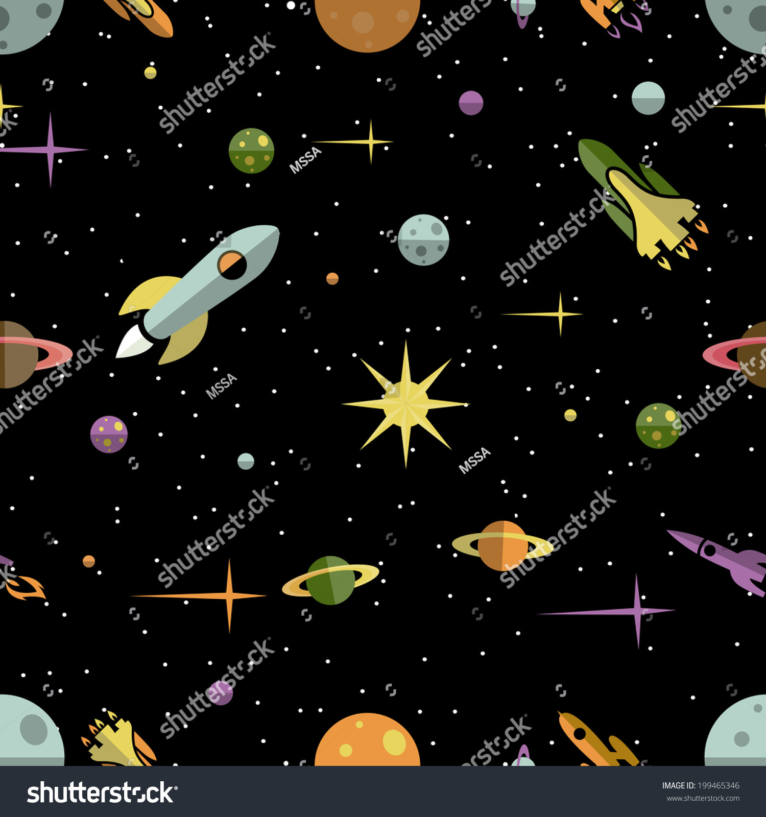 Seamless background pattern colorful planets rockets stock for Outer space pattern