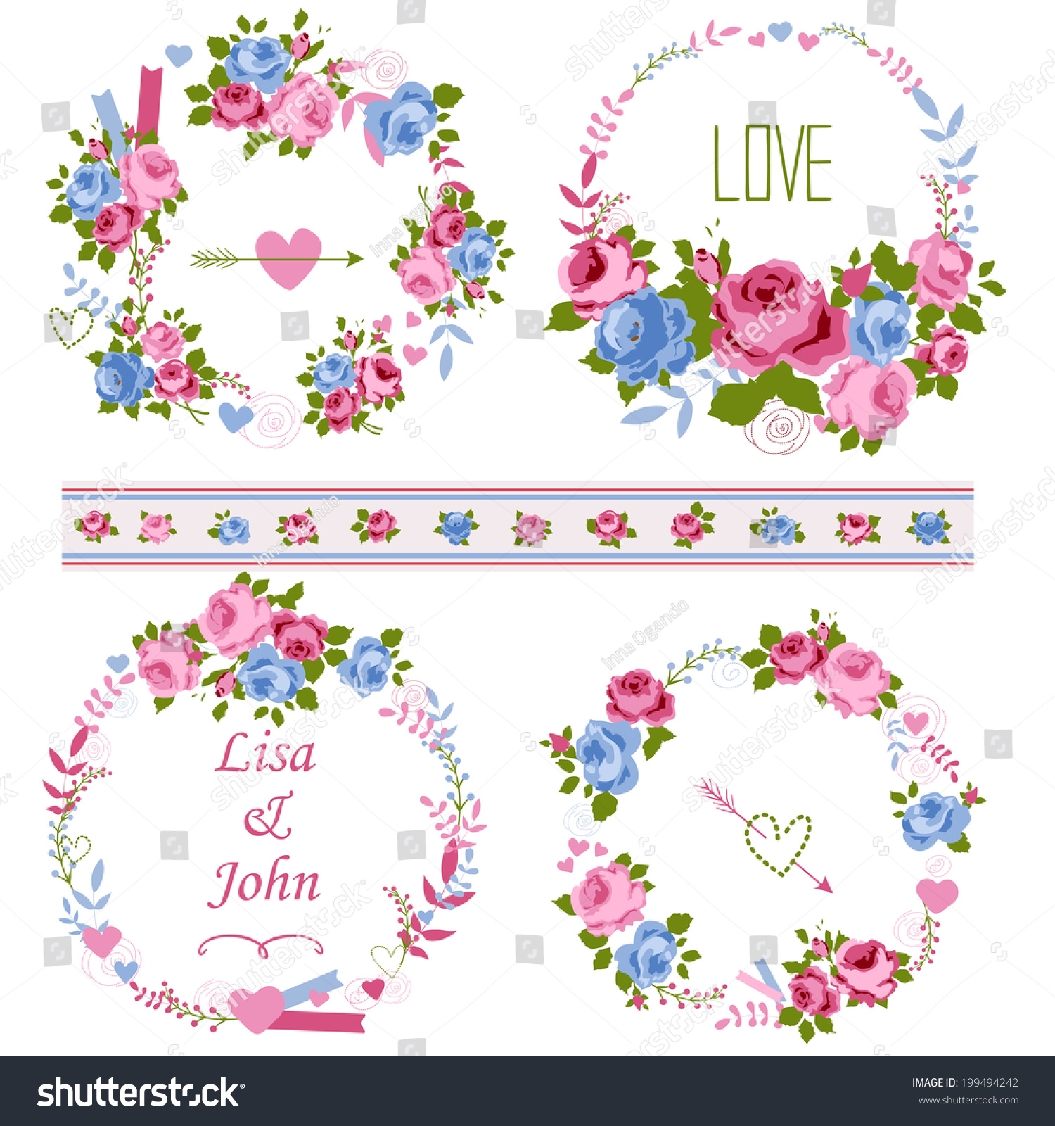 Abstract Roses Shabby Chic Wreath Space Stock Vector 199494242 ...