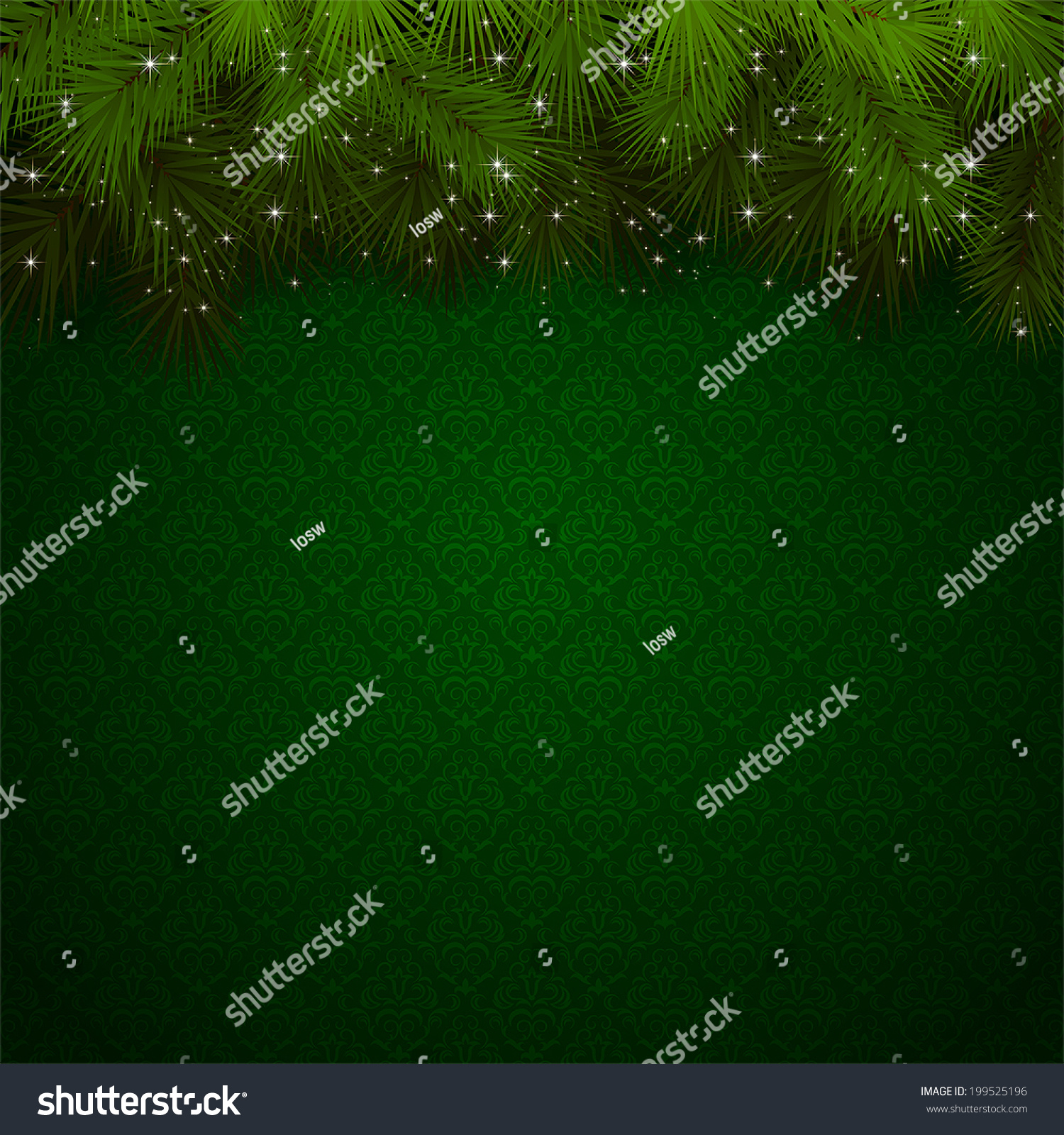 christmas background green wallpaper sparkling spruce stock vector