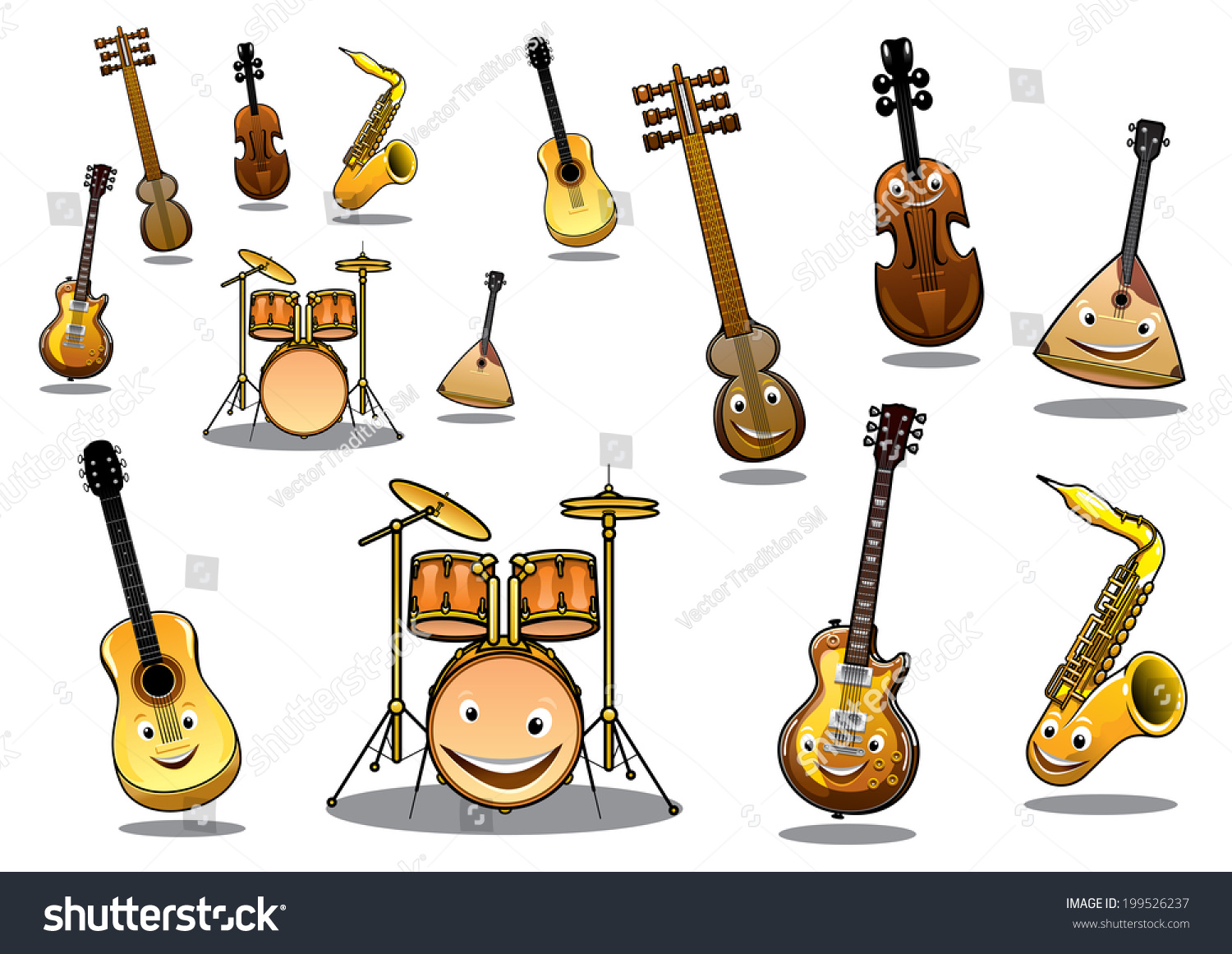 Cartoon Violin Images: Large Collection Musical Logo Instruments Happy Stock