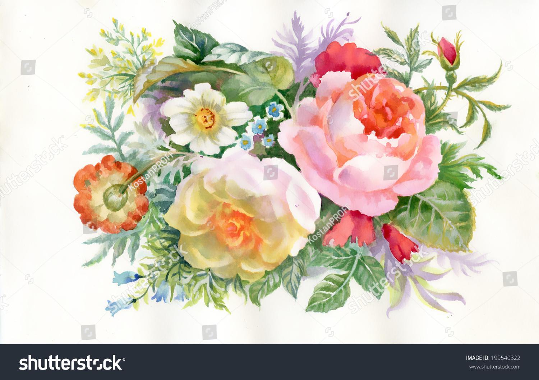 Watercolor Flowers Bouquet Vector Stock Vector 199540322 Shutterstock