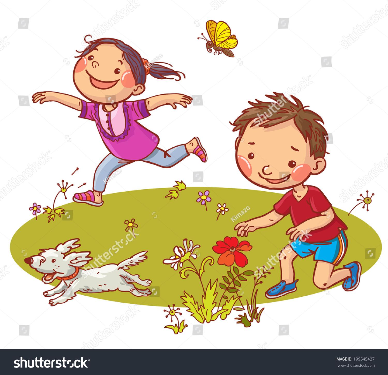 Children Running Picking Flowers Summer Activities Stock Vector