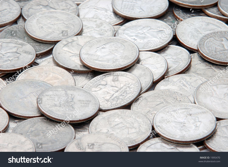 Closeup Pile Quarters Stock Photo (Edit Now) 1995470