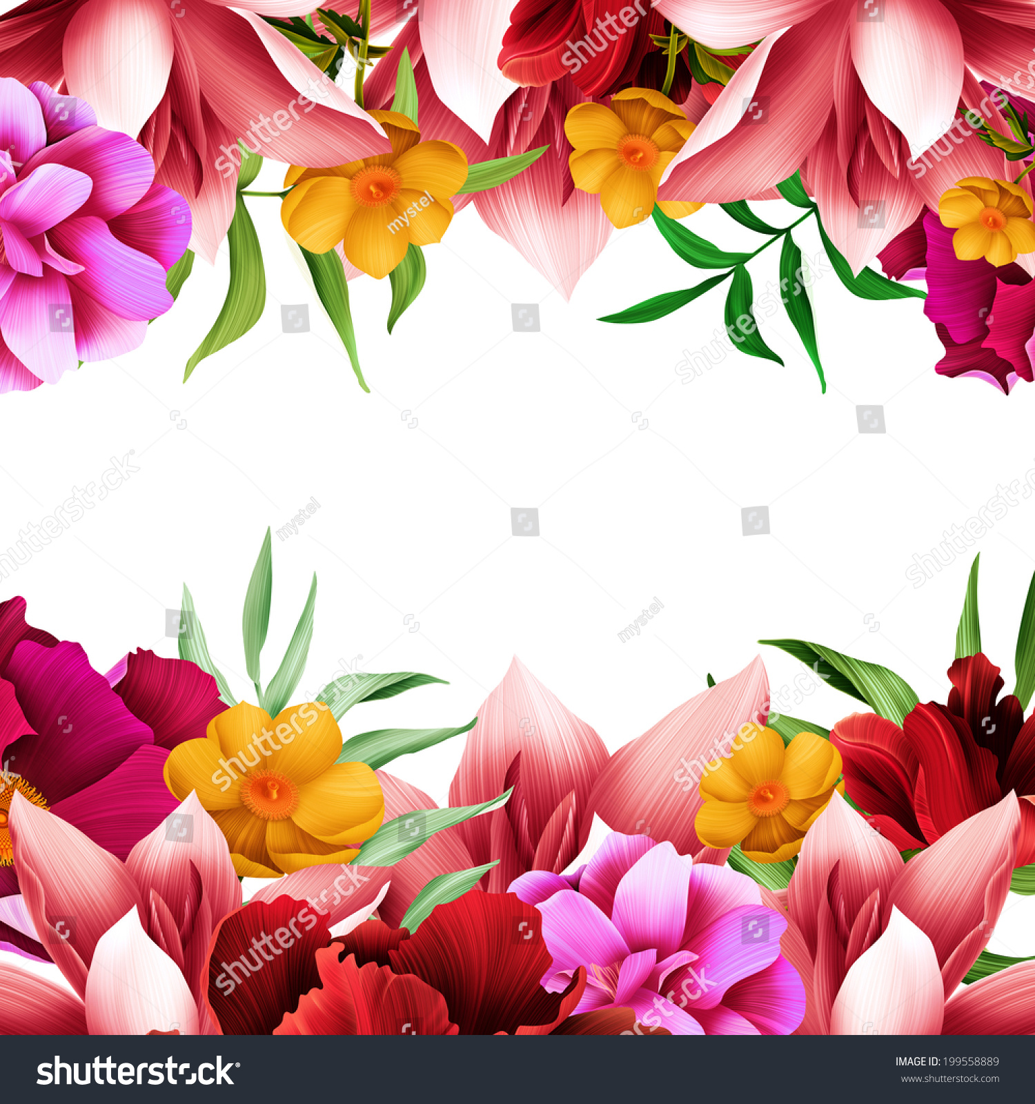 Beautiful background tropical flowers plant leaf stock illustration beautiful background with tropical flowers plant and leaf free space for your text izmirmasajfo