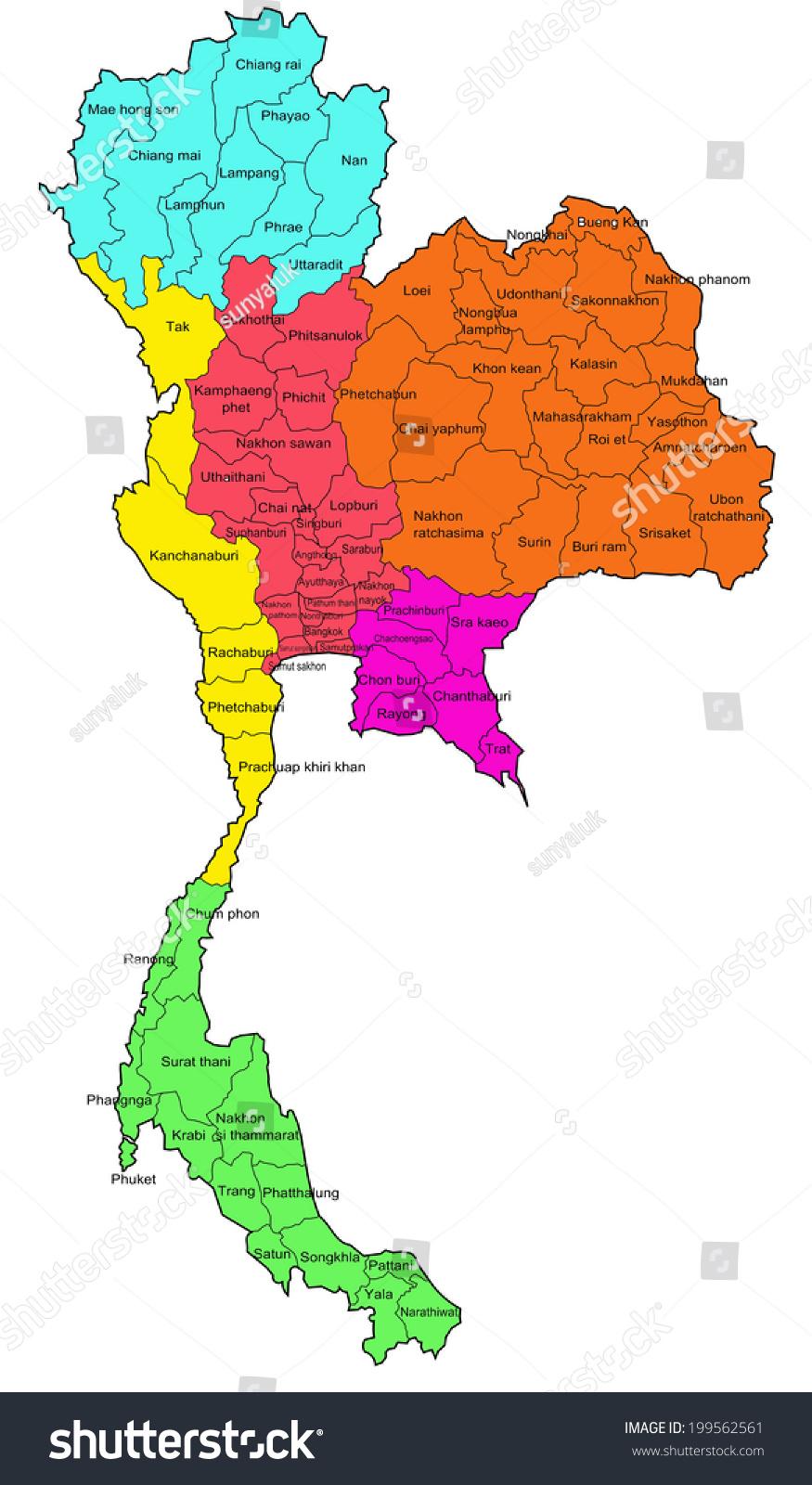 Thailand Map Regions Stock Illustration Shutterstock - Thailand map