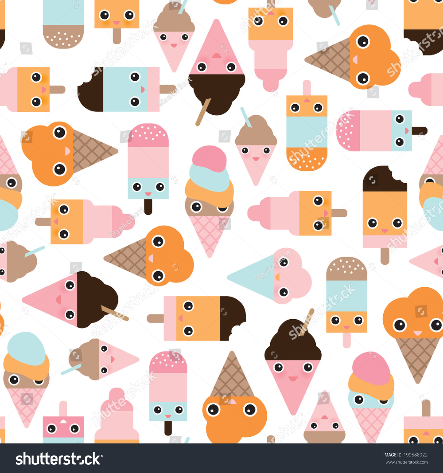 Pattern Cute Colorful Ice Cream Textiles Stock Vector: Seamless Summer Ice Cream Popsicle Cute Stock Vector