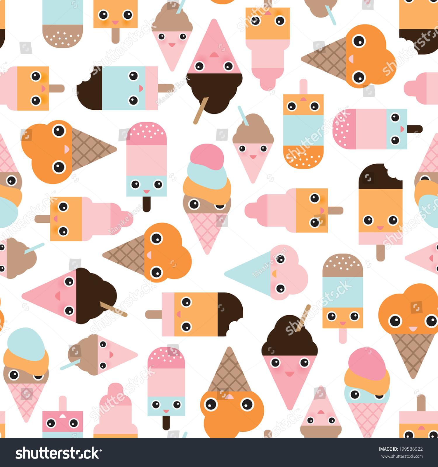 Cute Ice Cream Background: Seamless Summer Ice Cream Popsicle Cute Japanese Style