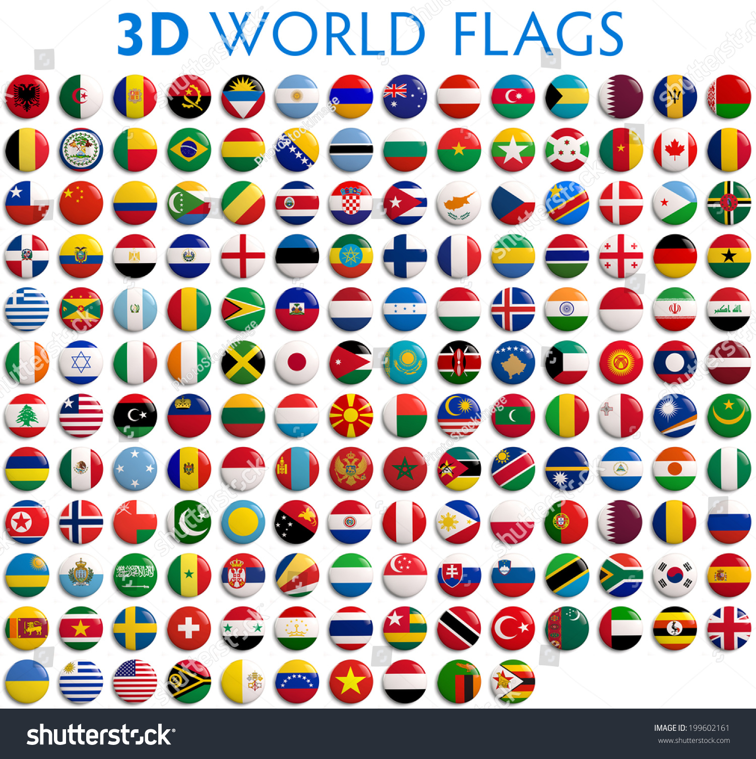 Country Flags World 3d Realistic Stock Illustration 199602161 ...