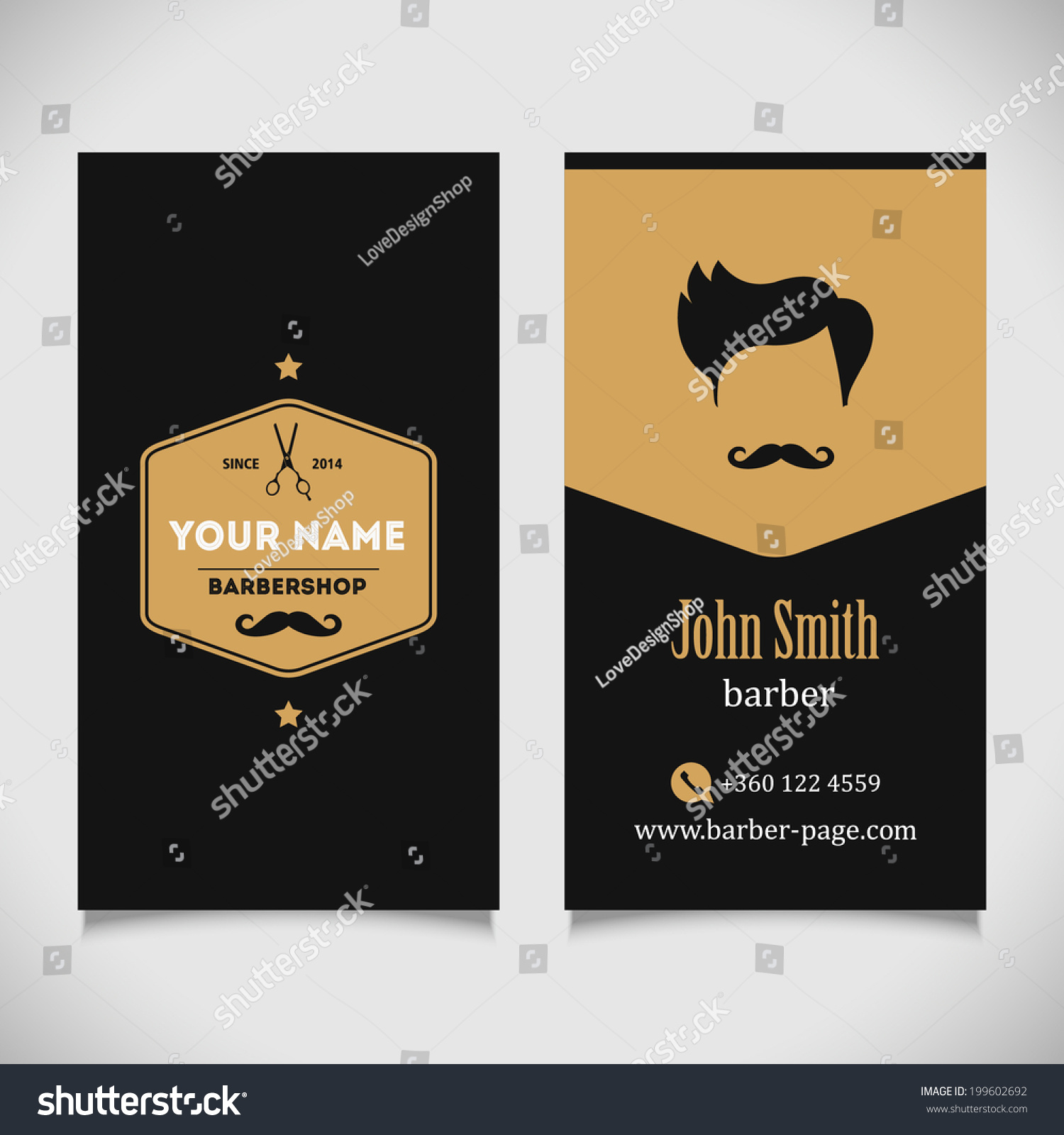 Hair Salon Barber Shop Business Card Stock Vector 199602692 ...