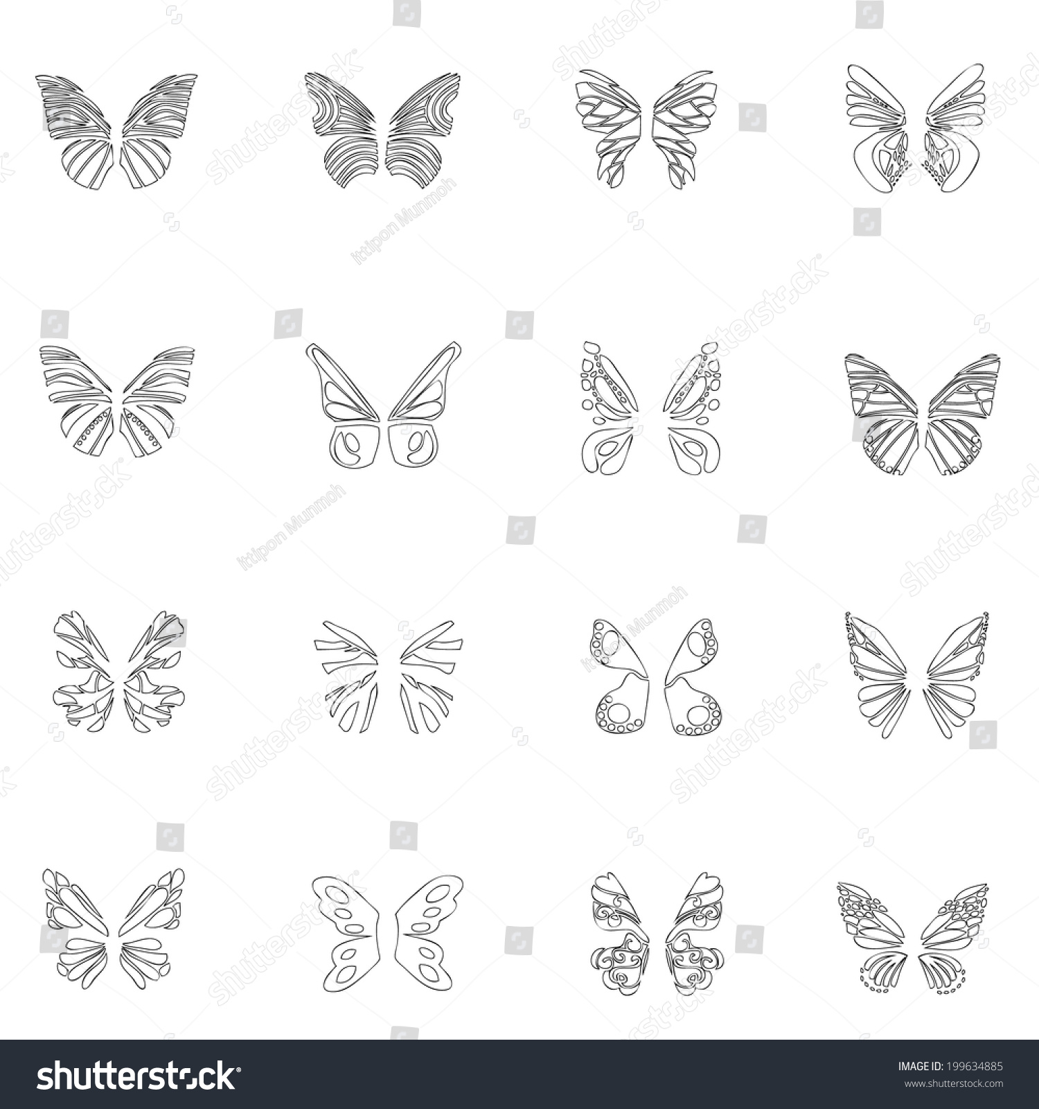 butterfly wings icon line drawing by stock vector 199634885