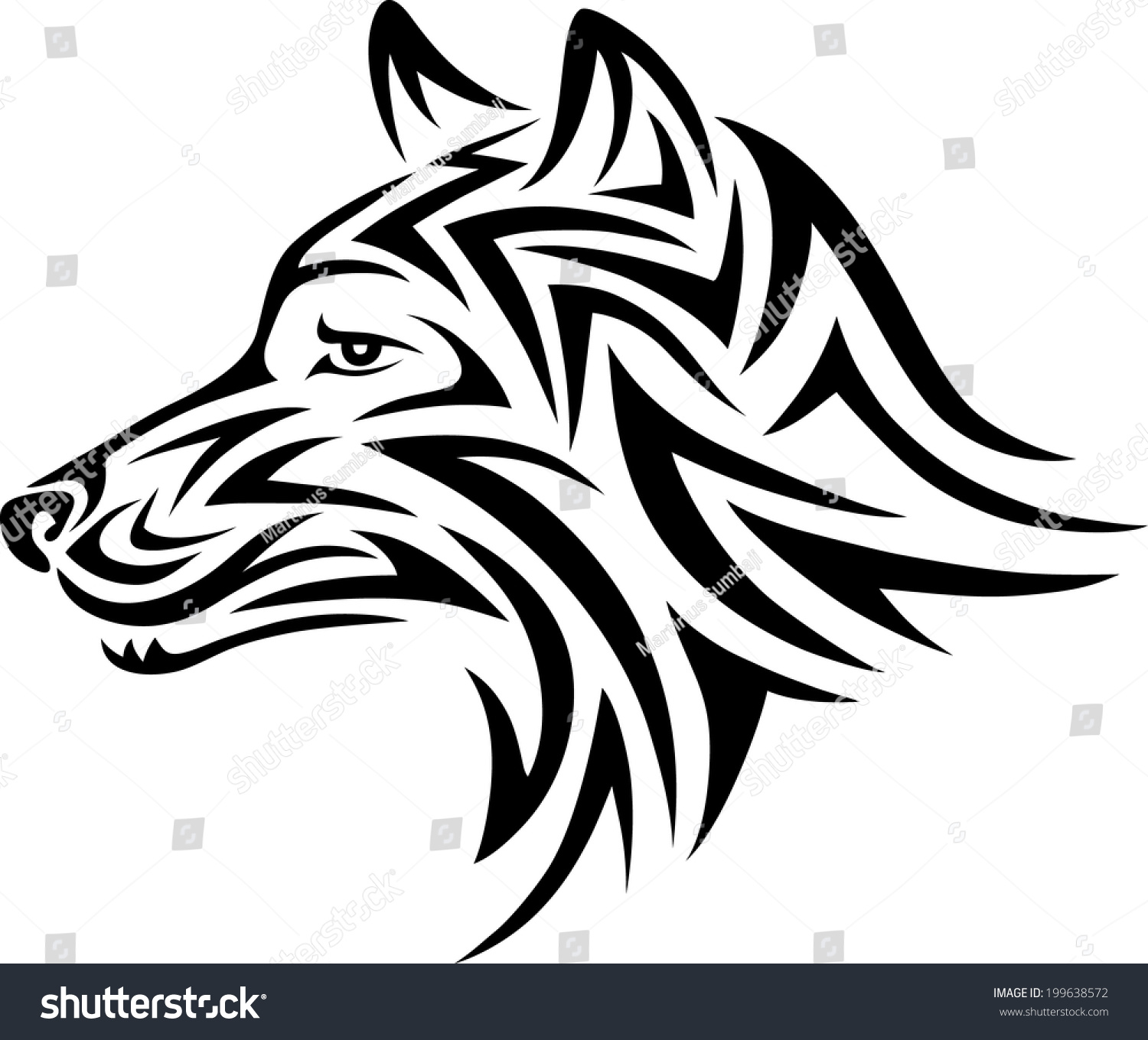 wolf head wolf head art tattoo stock vector 199638572 shutterstock. Black Bedroom Furniture Sets. Home Design Ideas