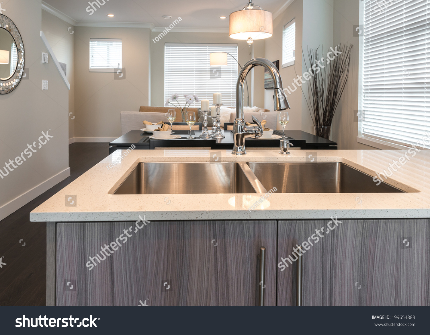 Outlook t he Modern Kitchen Sink nd he Living oom t he Back ... - ^