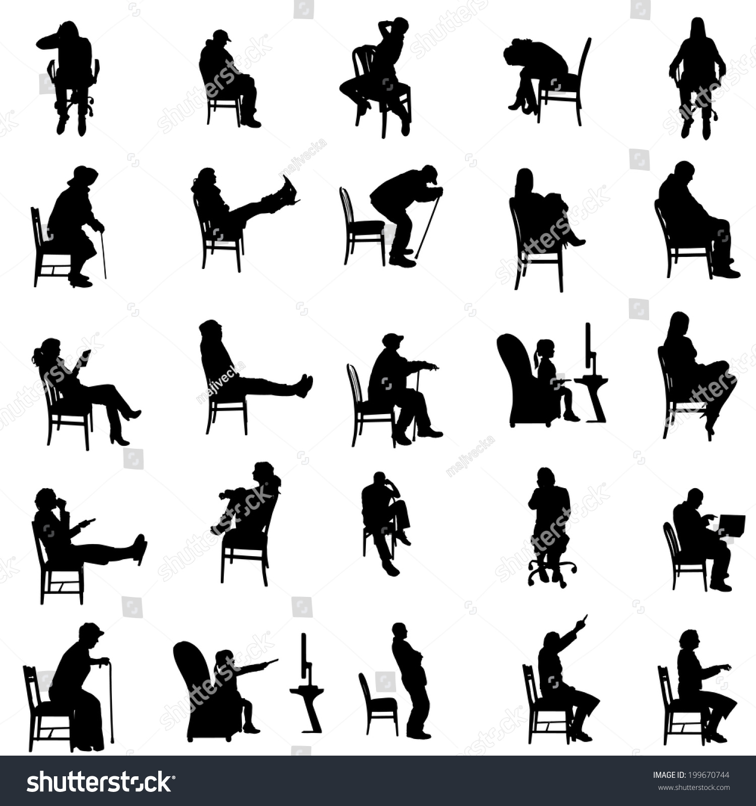 Vector Silhouettes Of People Sitting In A Chair. - 199670744 ...