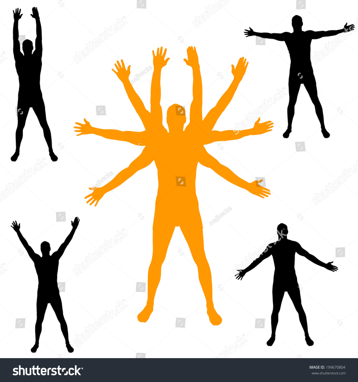 vector silhouette man arms outstretched stock vector (royalty free)  199670804  shutterstock