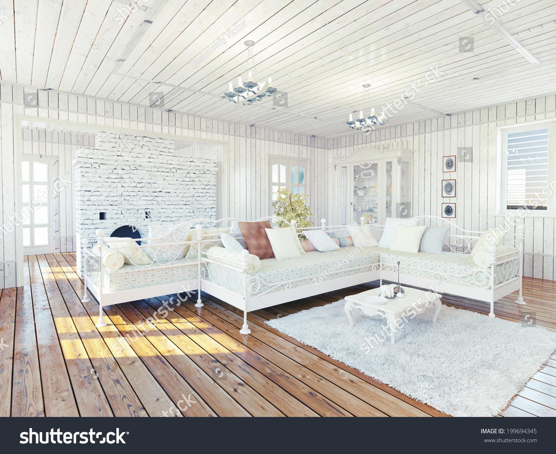 Provence rural house interior design concept stock photo - Condominium interior design concept ...