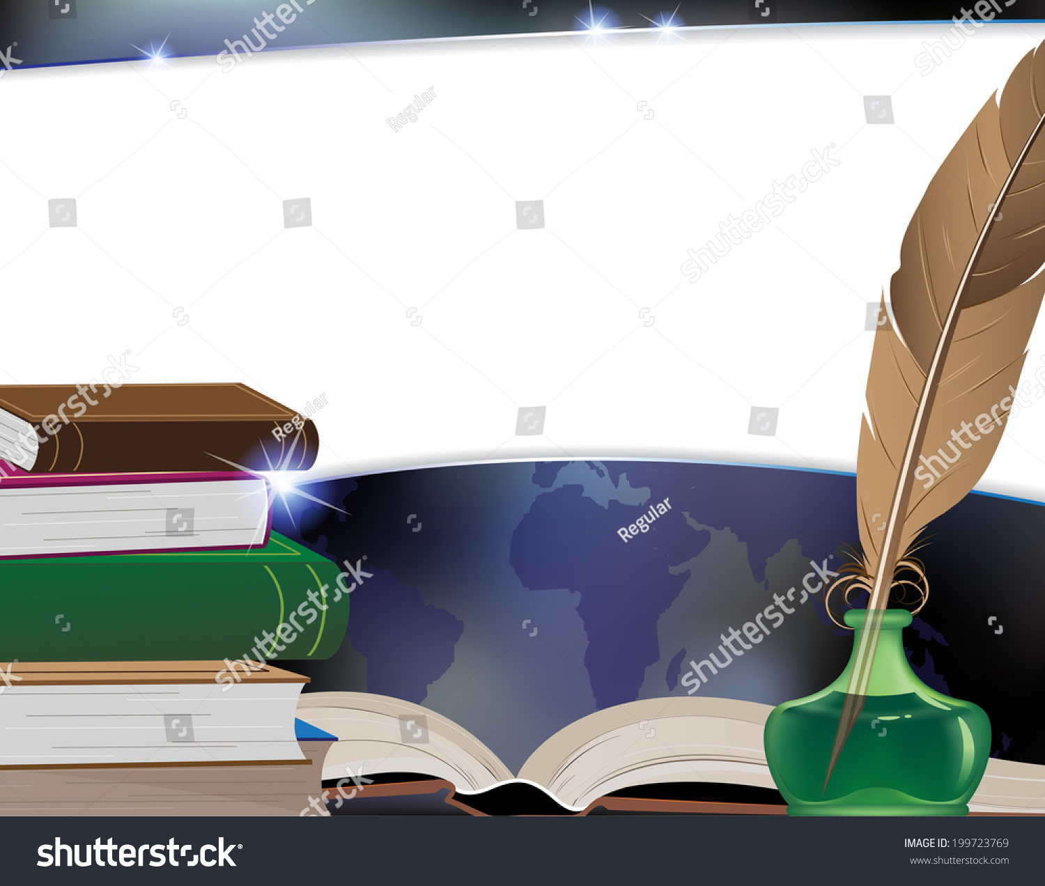 Ancient Soapstone Inkwell Stock Photo: Ancient Books, Writing Feather, Inkwell And Travel Map