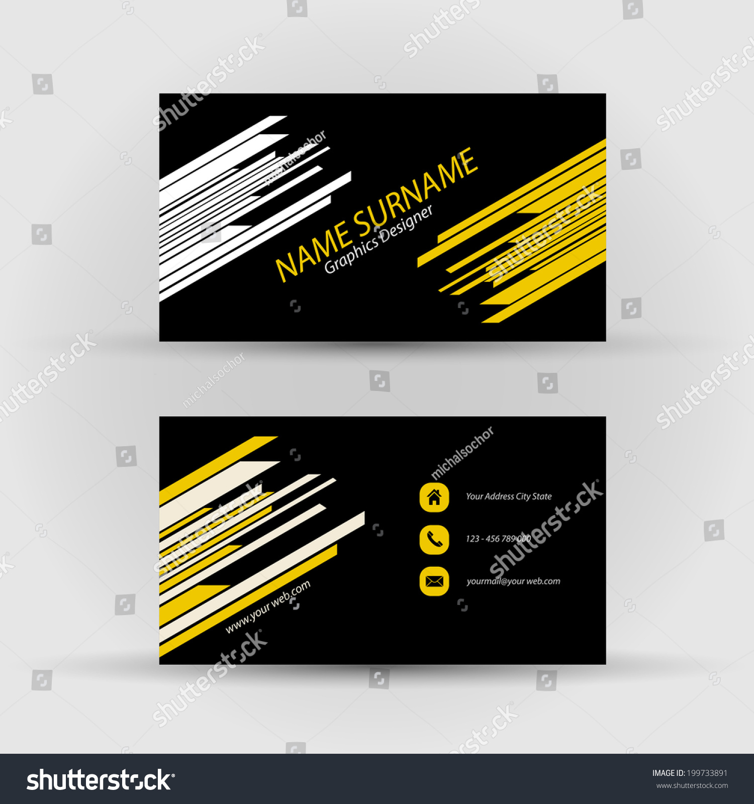 Set modern vector business card template stock vector royalty free set of modern vector business card template front and back side cheaphphosting Images