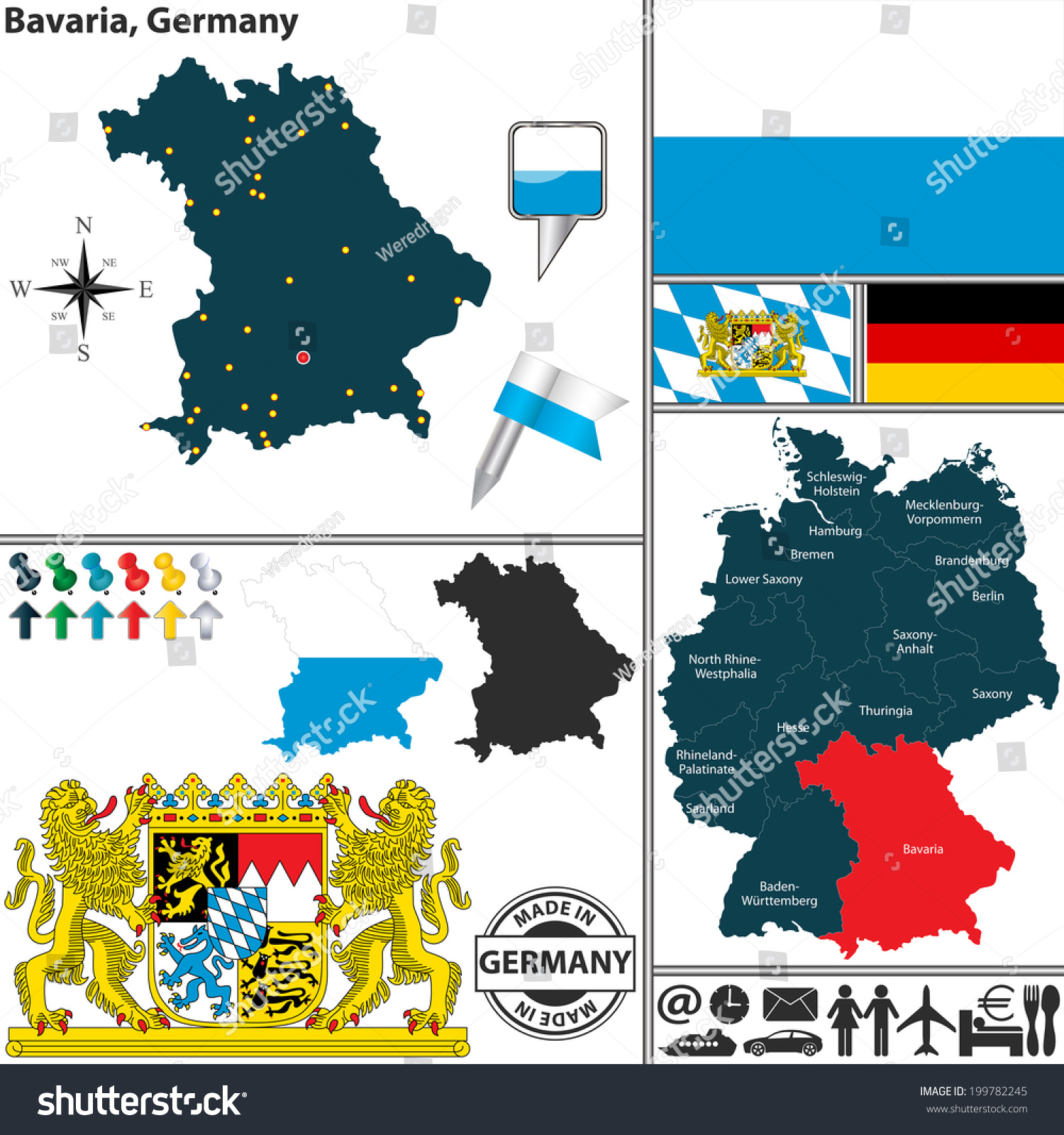 Vector Map State Bavaria Coat Arms Stock Vector - Germany map location