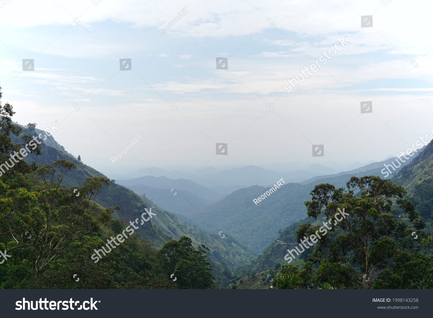 Ella gap, the view through two mountains little adamants peak and Ella mountain showing the southern plains. This is in Ella, Sri Lanka on 01.09.2020.