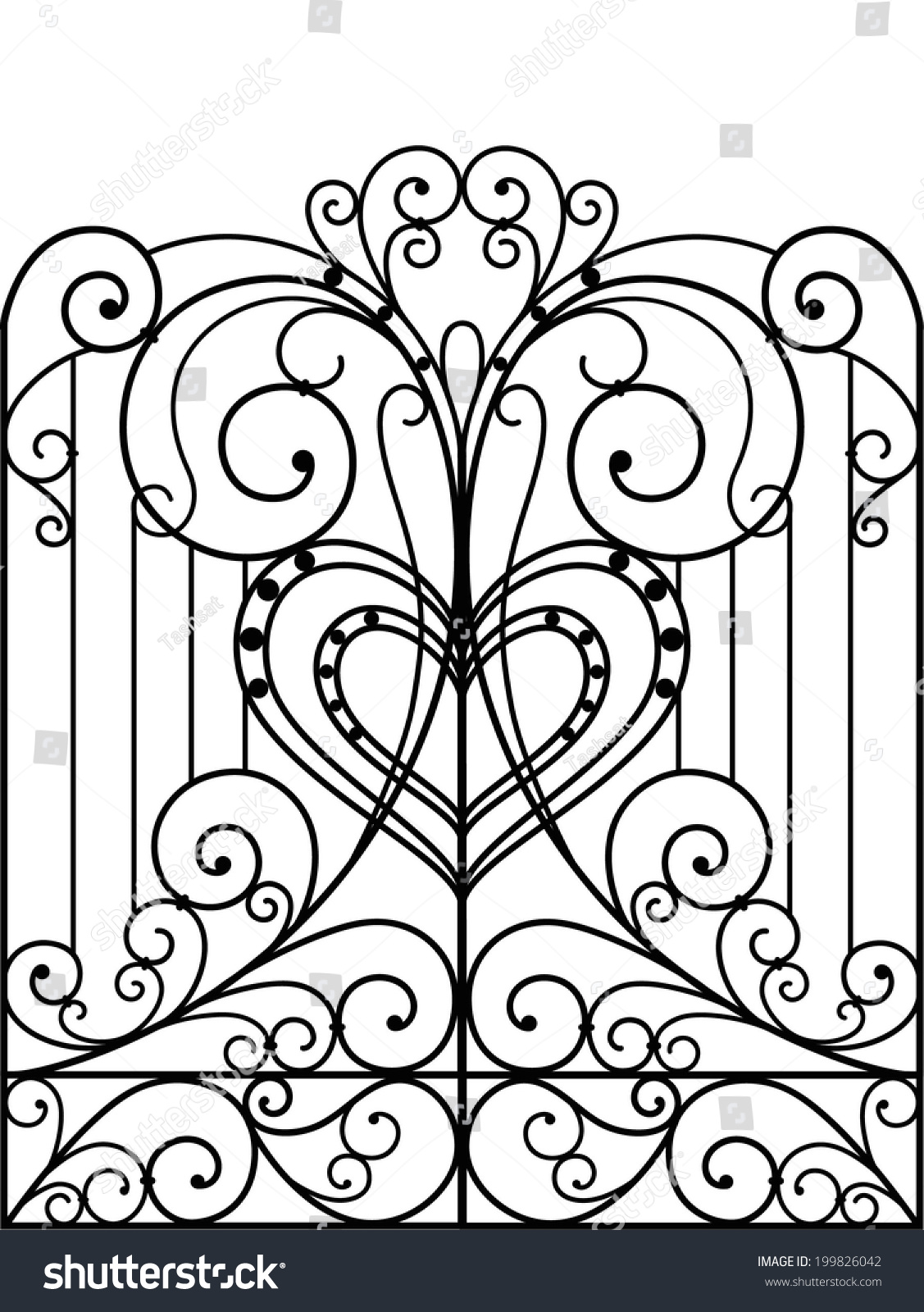 Wrought iron gate door fence stock vector