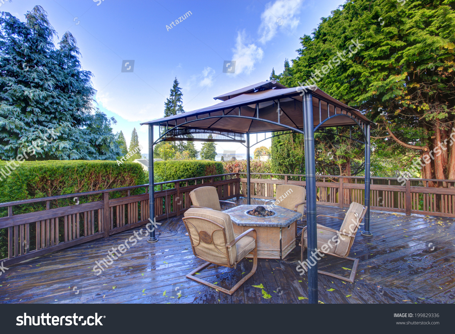 Wooden Deck Railings Gazebo Fire Pit Stock Photo Edit Now 199829336
