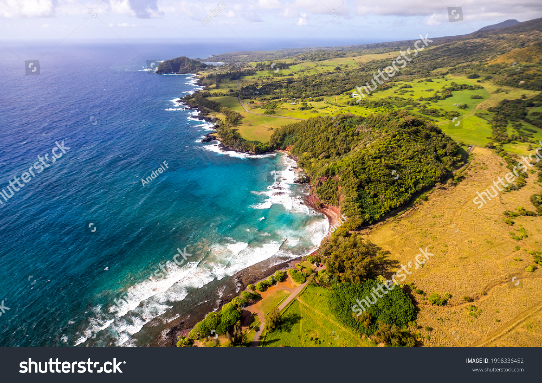 Sea coast top view landscape. Mediterranean coastline panorama. Sea coast panorama. Coastal sea beach landscape #1998336452