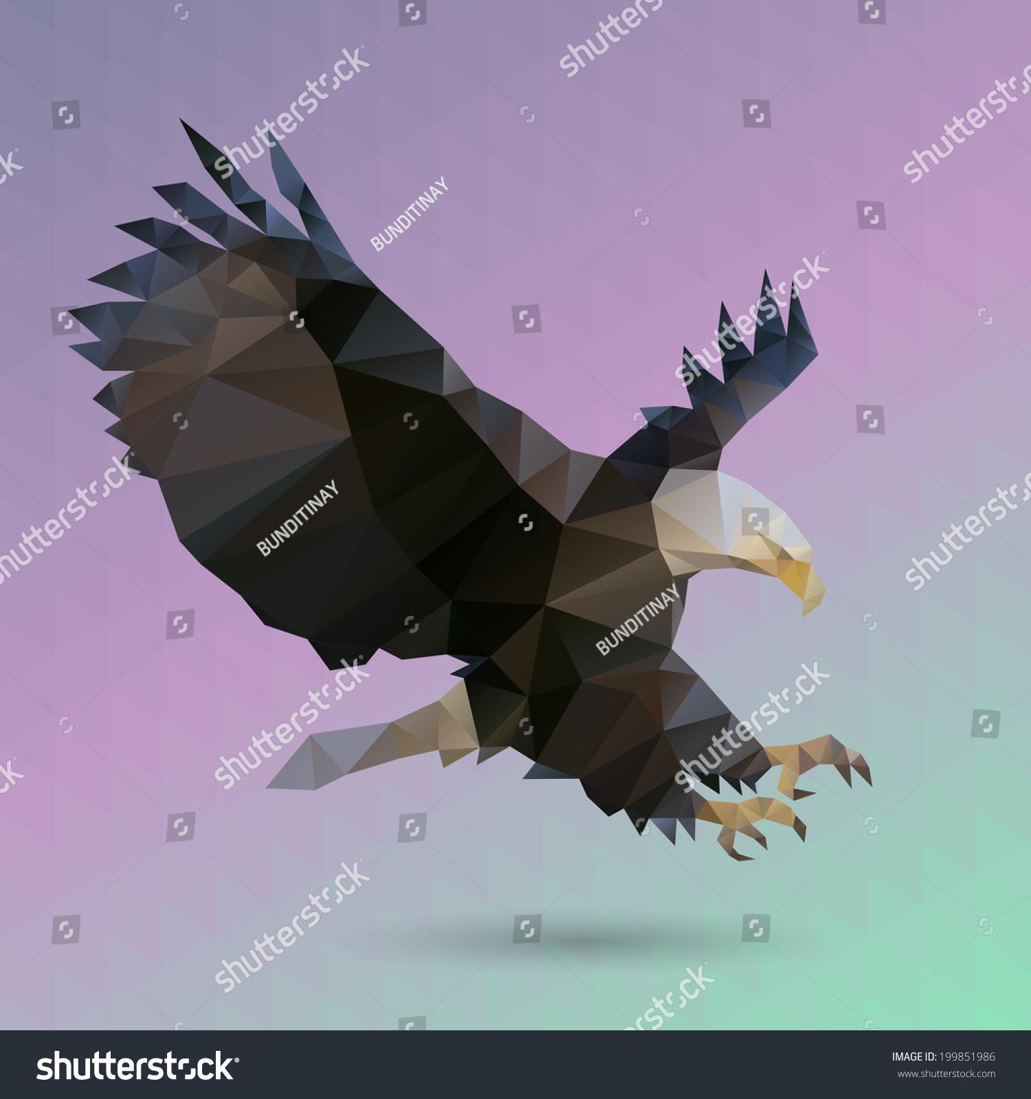 Geometric Eagle On Triangle Pattern Background