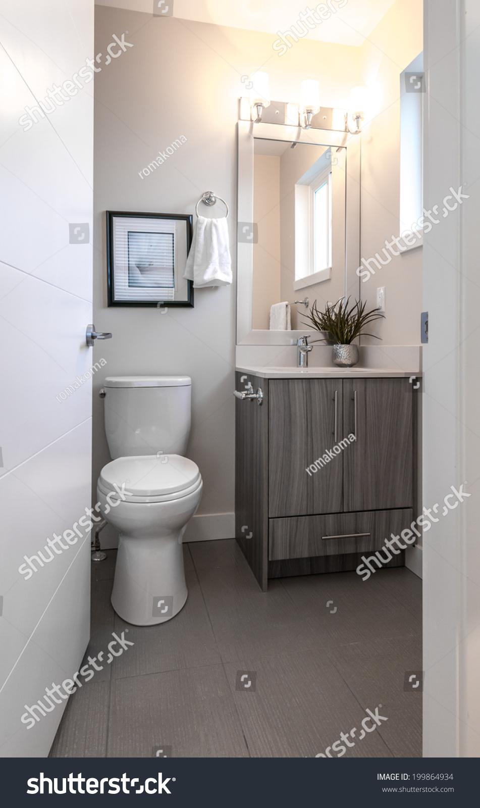 Nicely Decorated Modern Washroom Bathroom Toilet Stock Photo ...