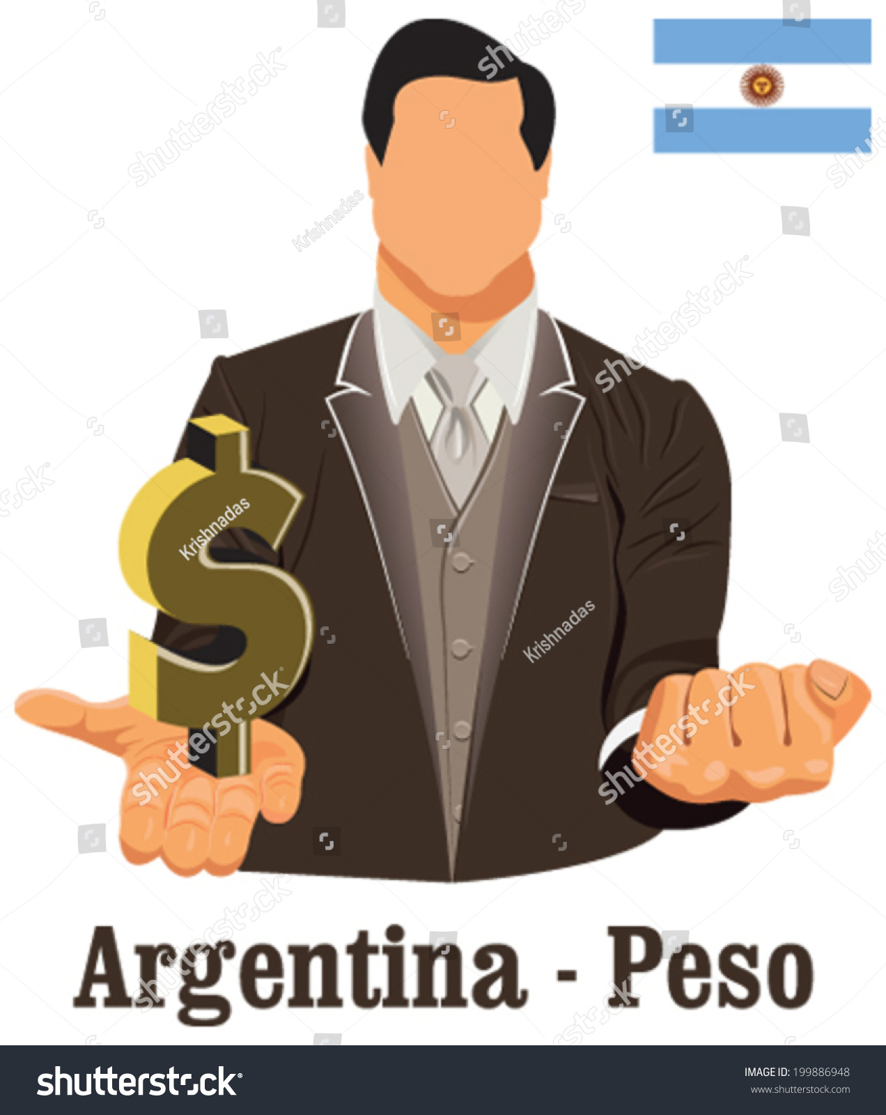 Argentina National Currency Argentine Peso Symbol Stock Vector