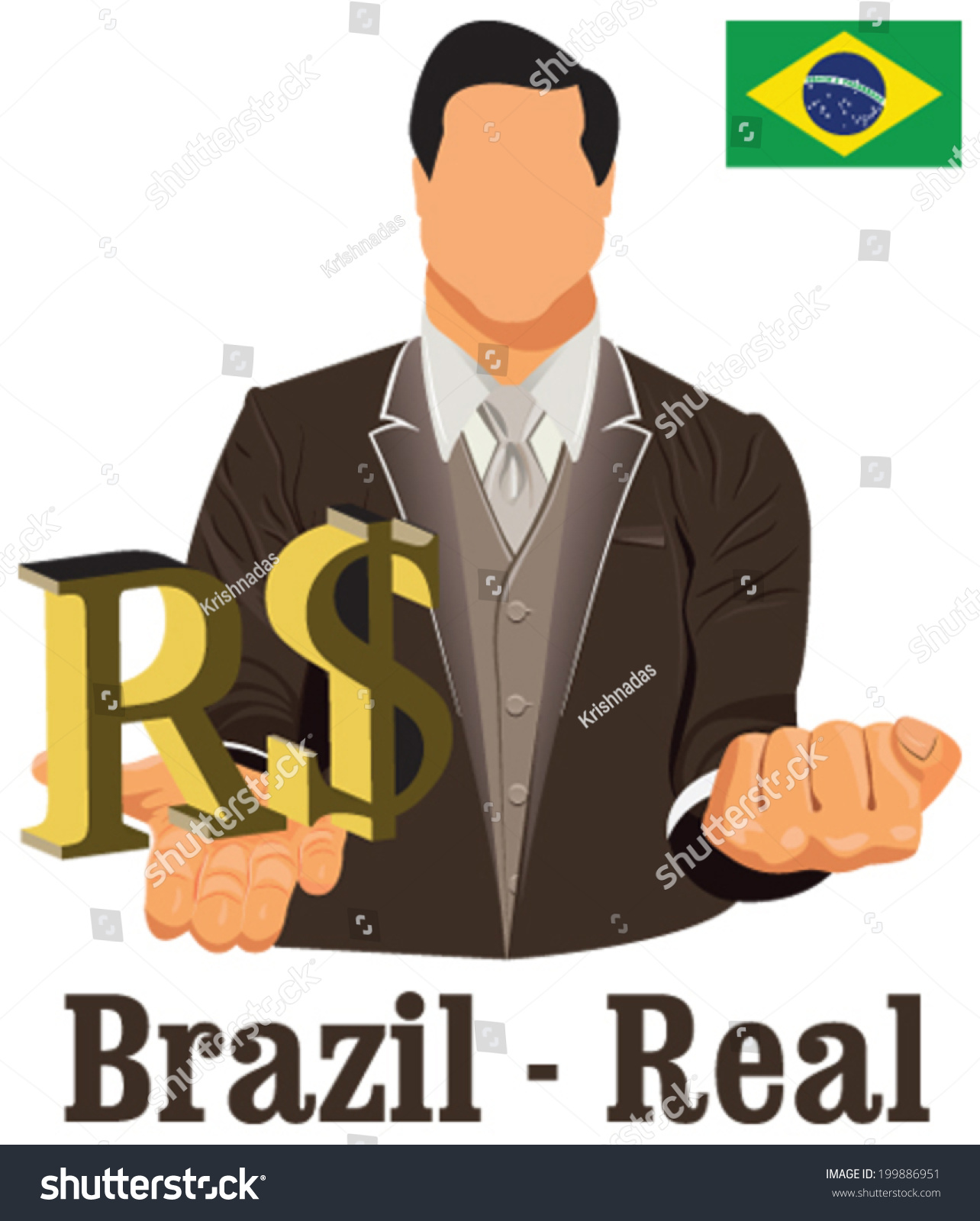 Brazil National Currency Brazilian Real Symbol Stock Vector Royalty